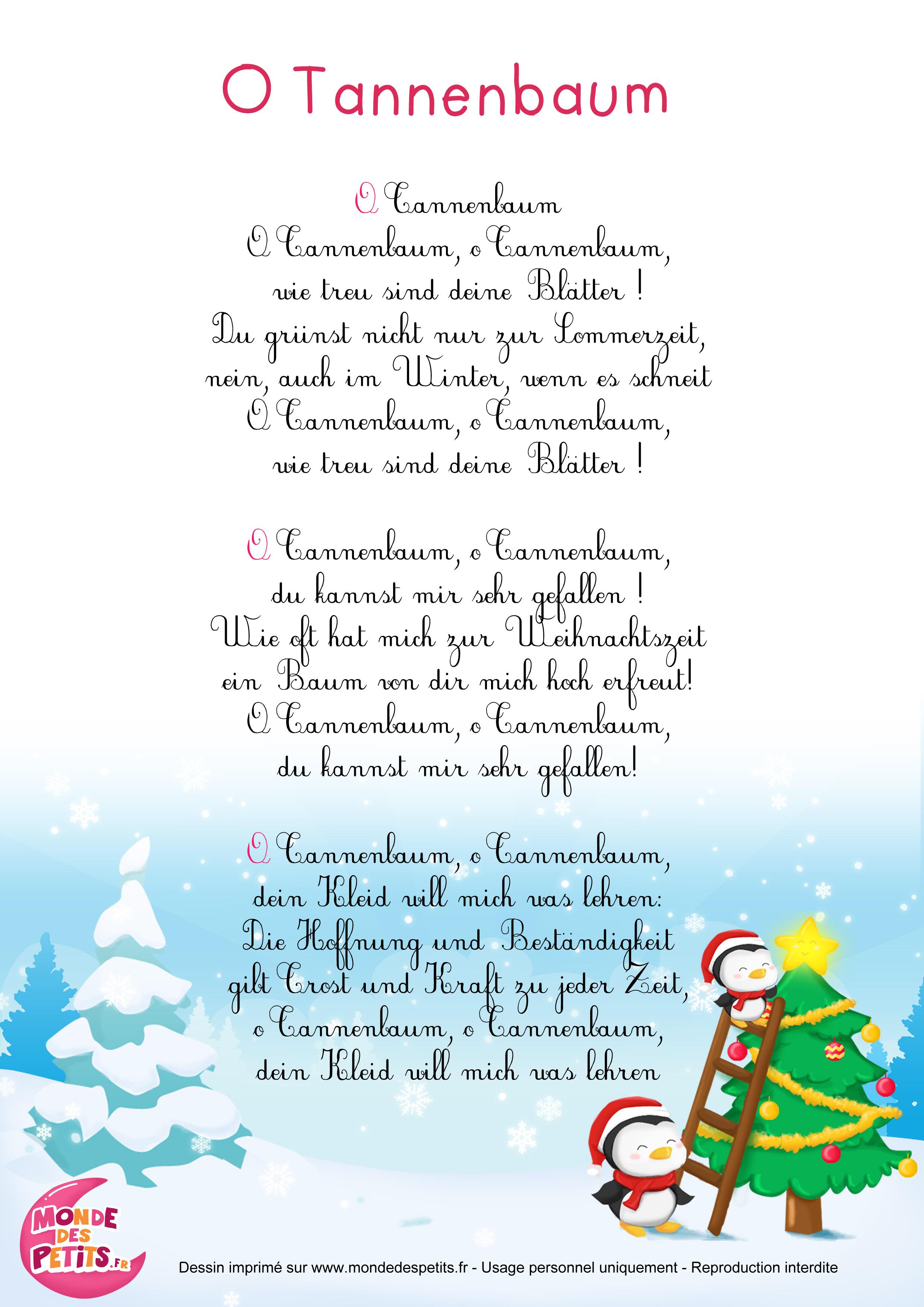 O Tannenbaum Kinderlied.Monde Des Petits O Tannenbaum Comptine De Noël En Allemand Pour