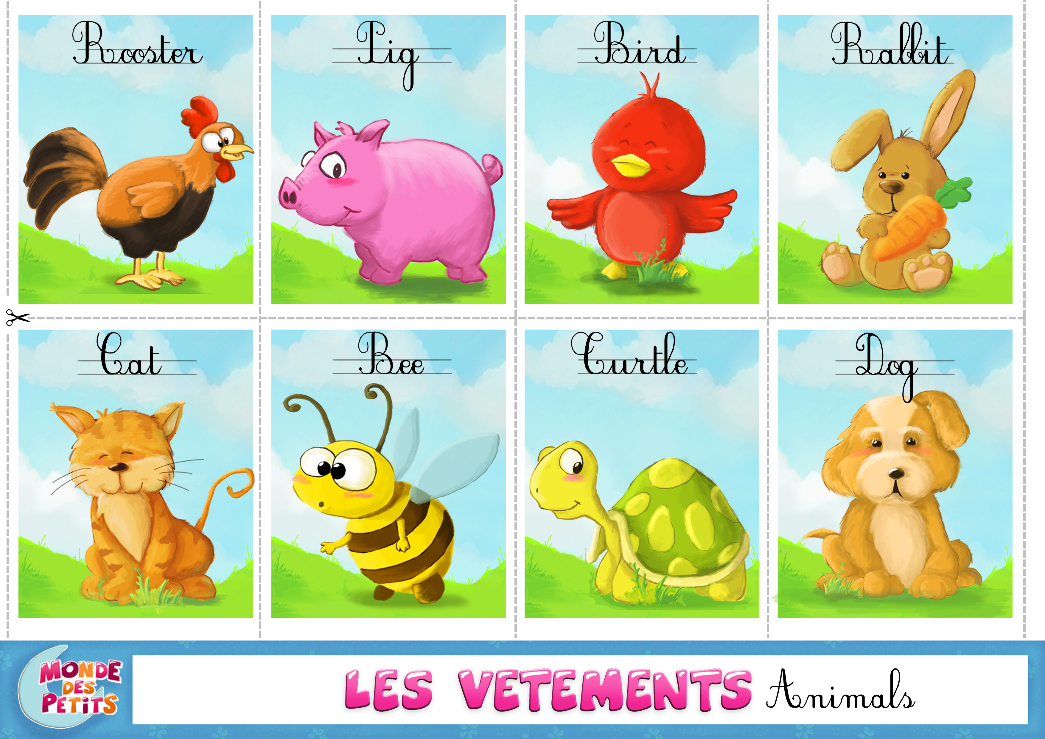 Bien-aimé image animaux en anglais TD99