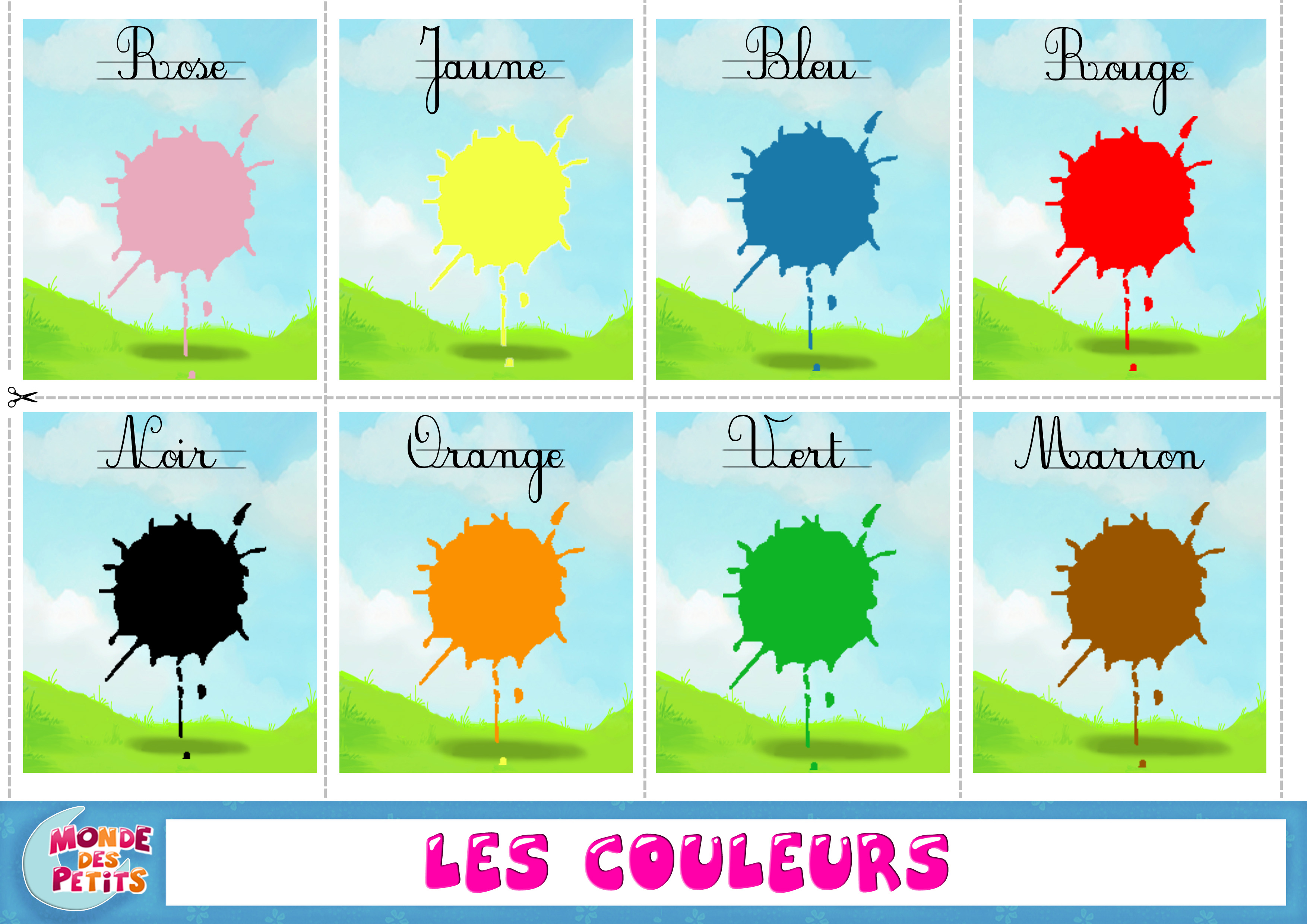 Cartes à imprimer apprendre les couleurs