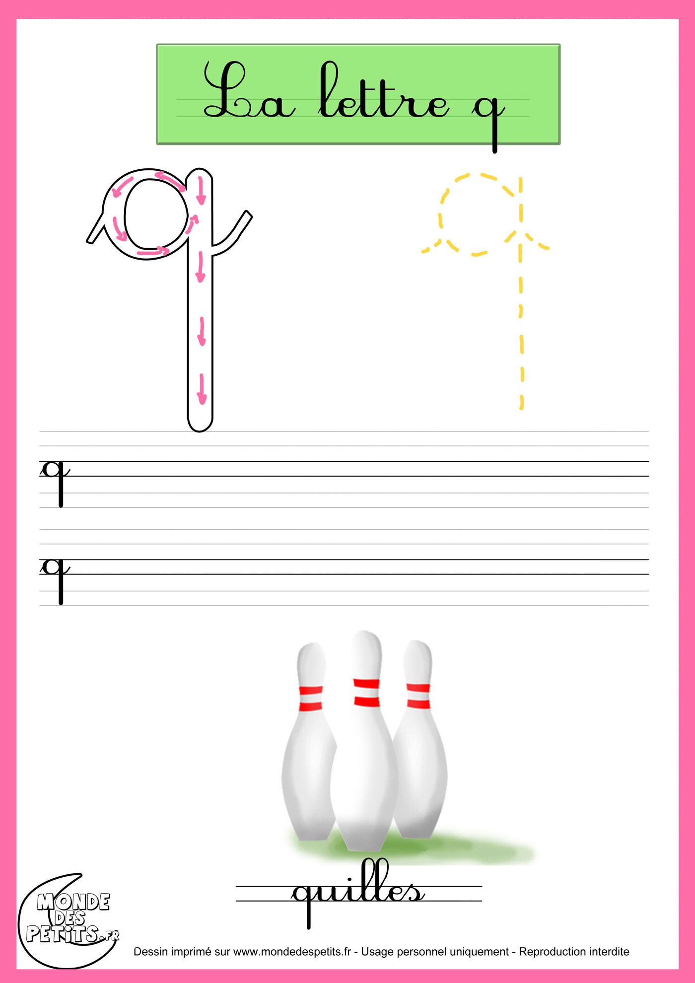 lettre q en attaché Monde des petits   Fiches lettre q en attaché