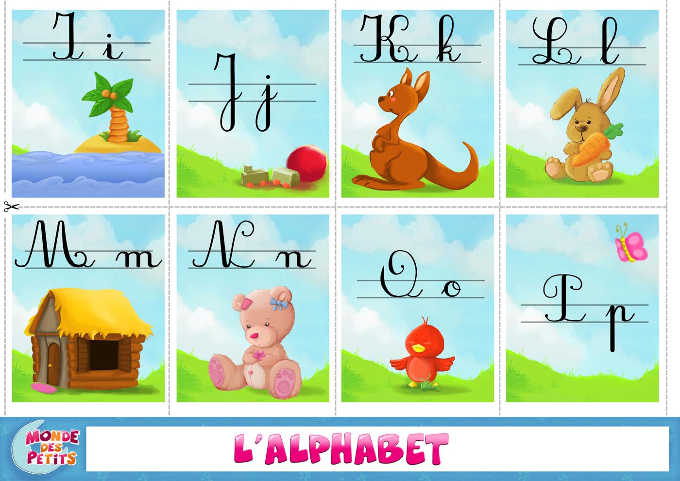 apprendre alphabet cursive aux enfants