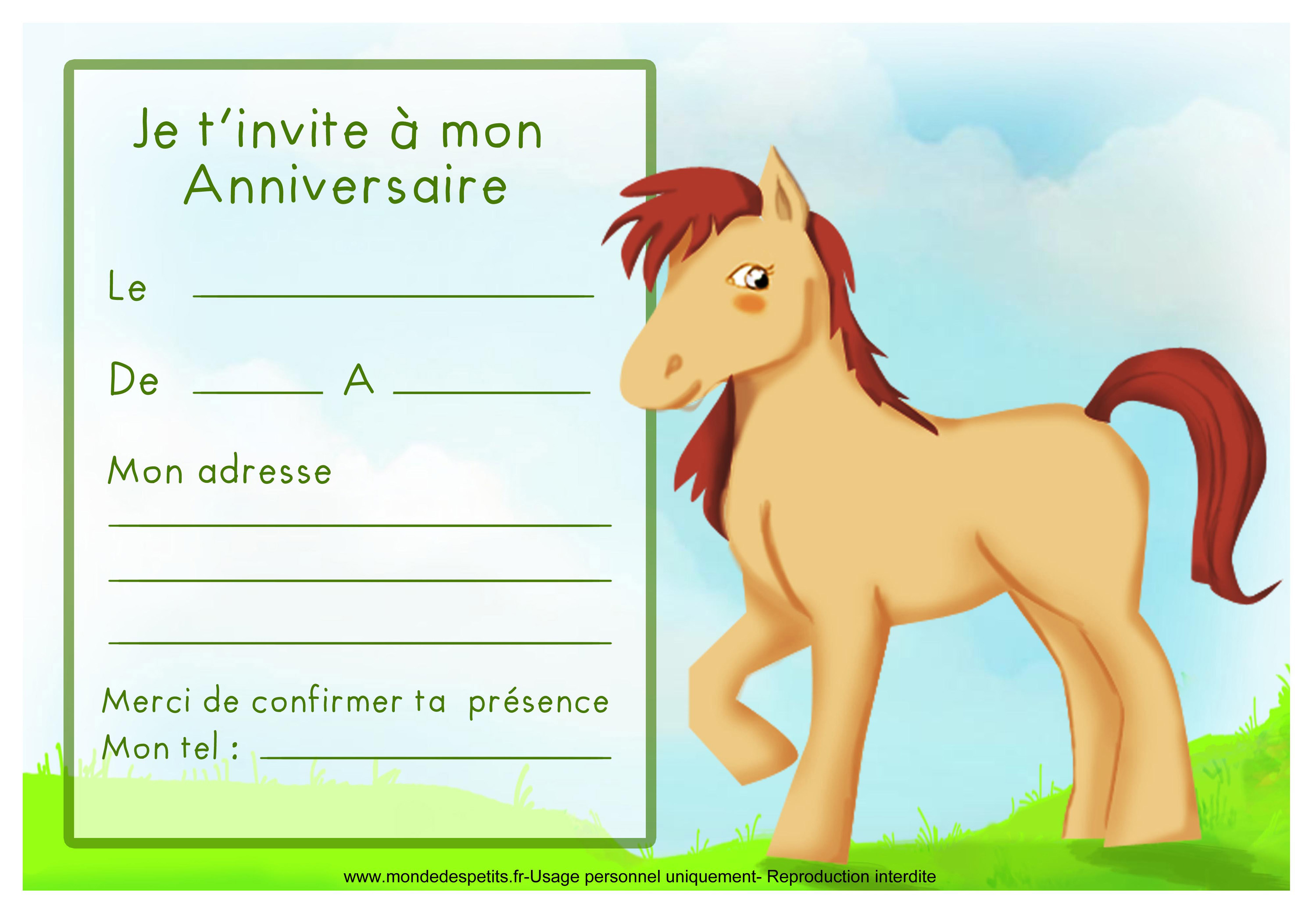 Carte D Invitation Anniversaire Cheval Coleteremelly Web