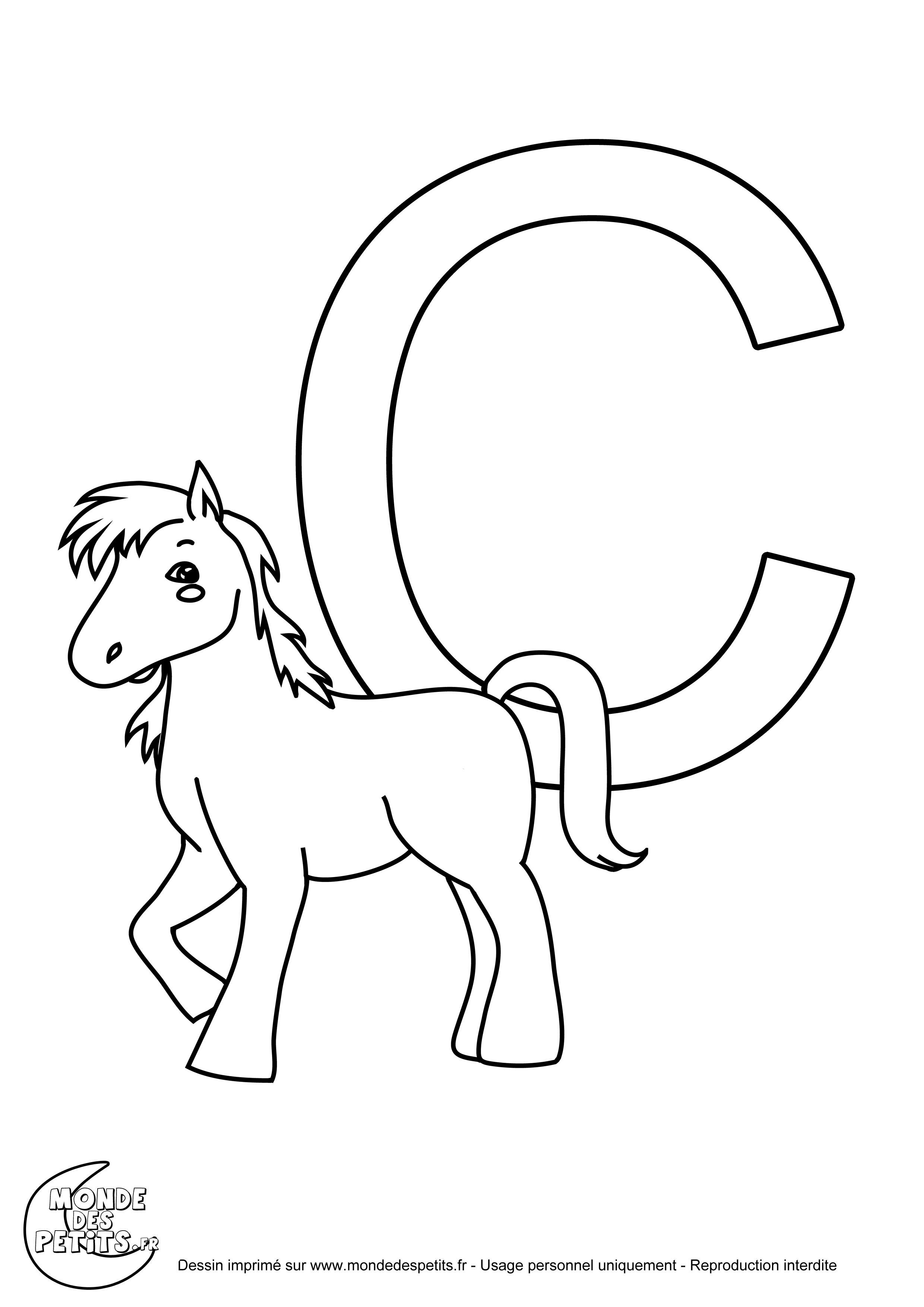 Belle lettre r coloriage cheval - Lettres a colorier ...