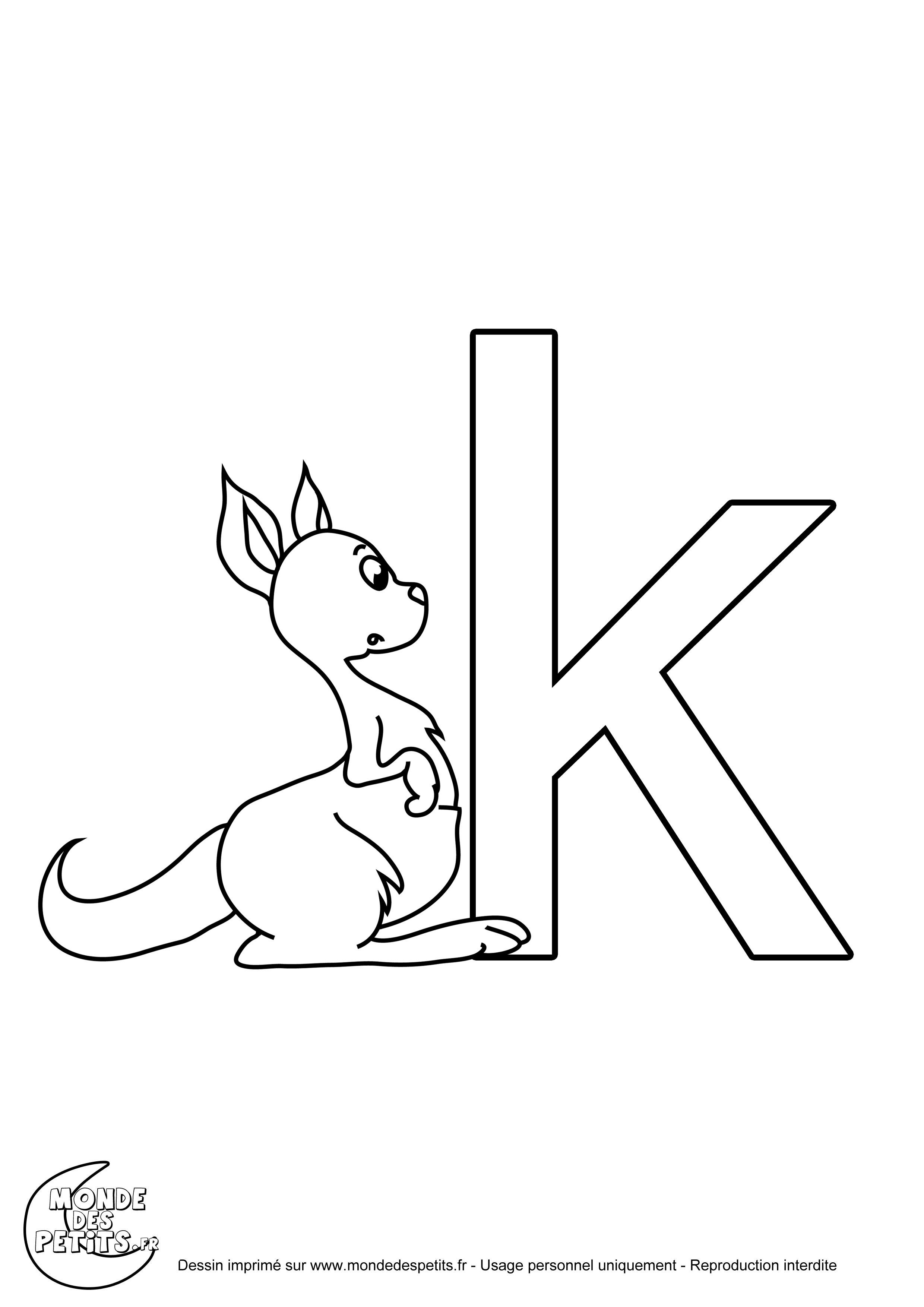 coloriage imprimer de la lettre de lalphabet k