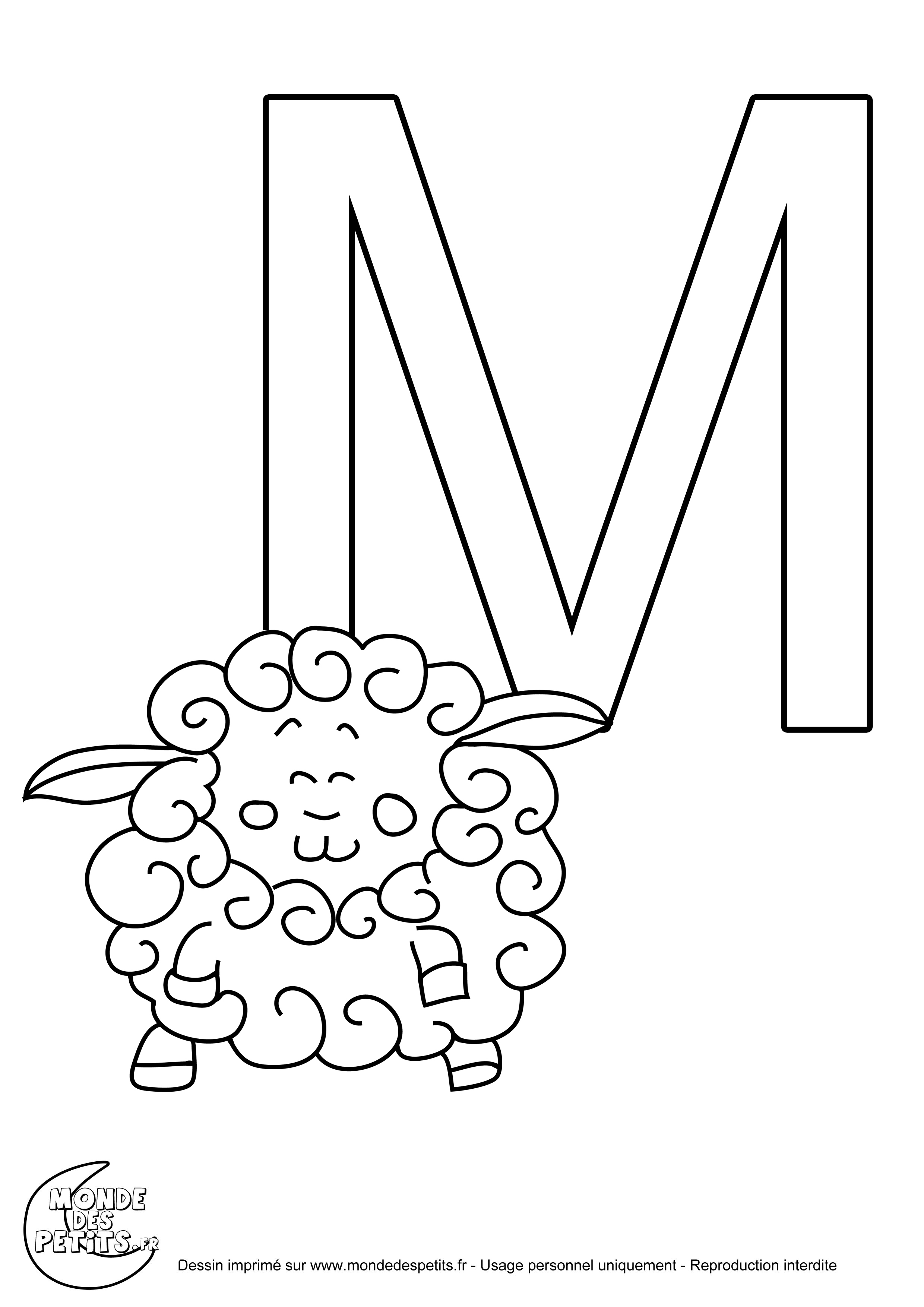 La lettre M  imprimer pour les enfants