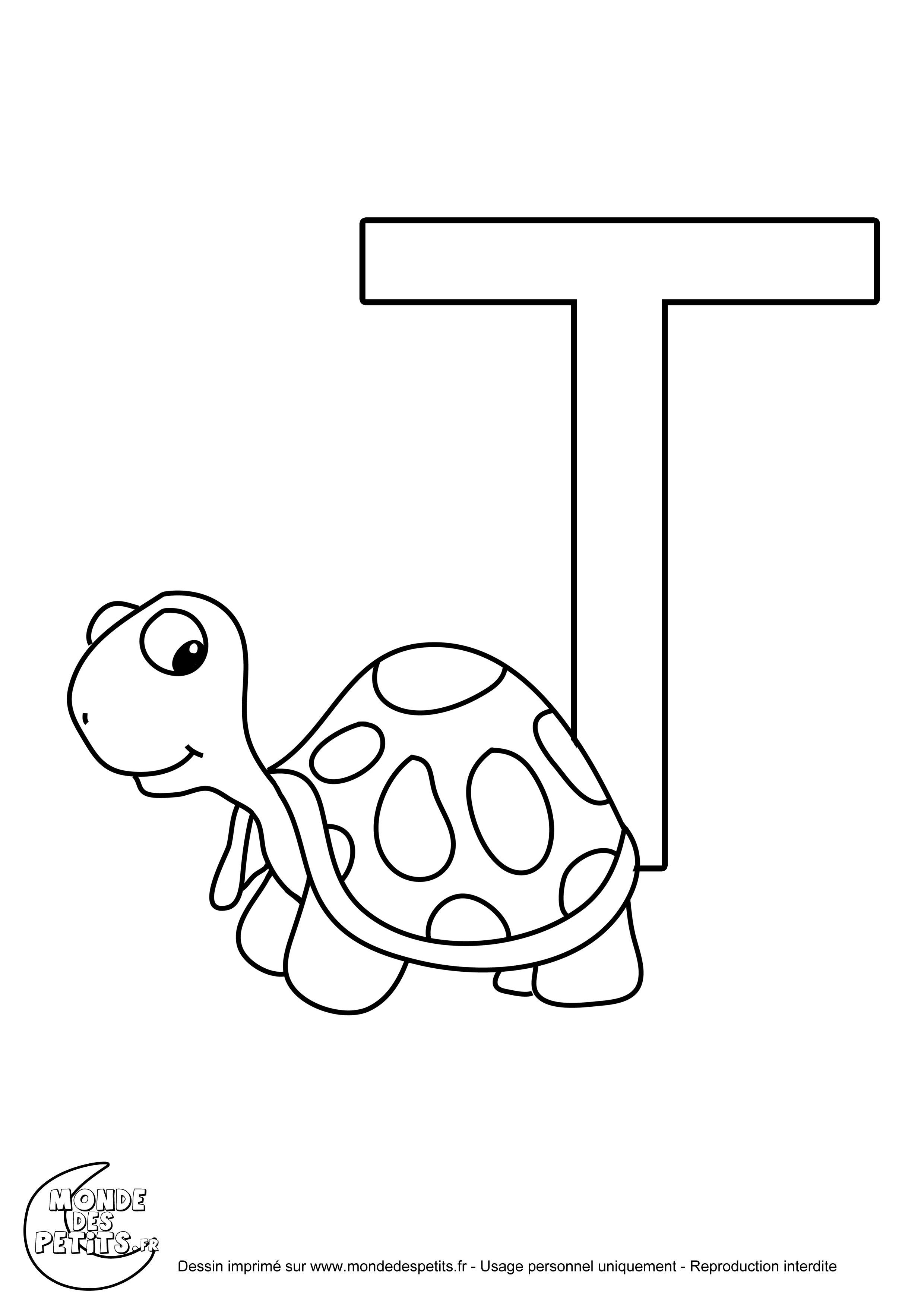 La lettre t  colorier pour les enfants