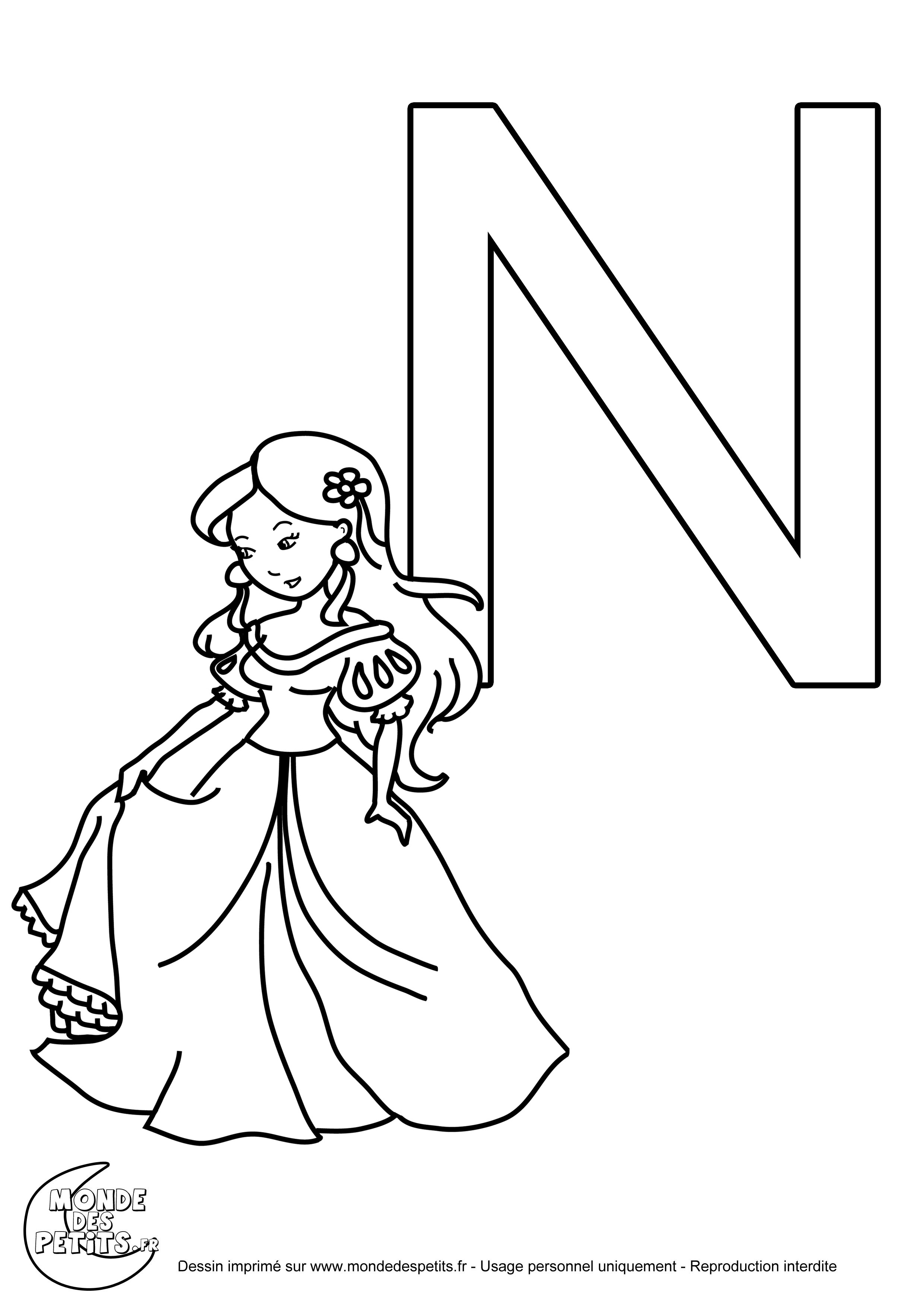 coloriage gratuit de la lettre majuscule n - Lettre Majuscule A Imprimer