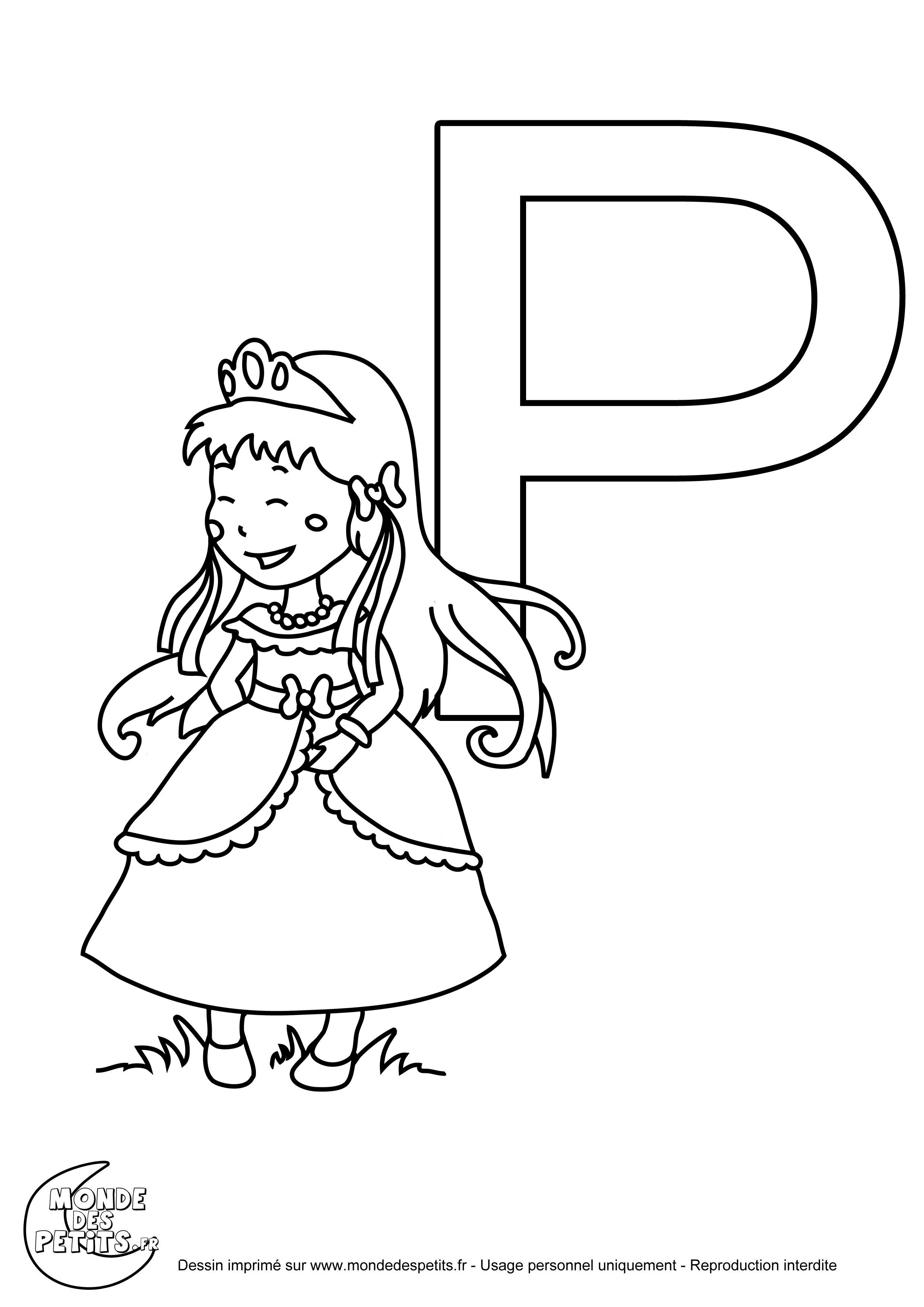 la lettre majuscule p imprimer pour les enfants
