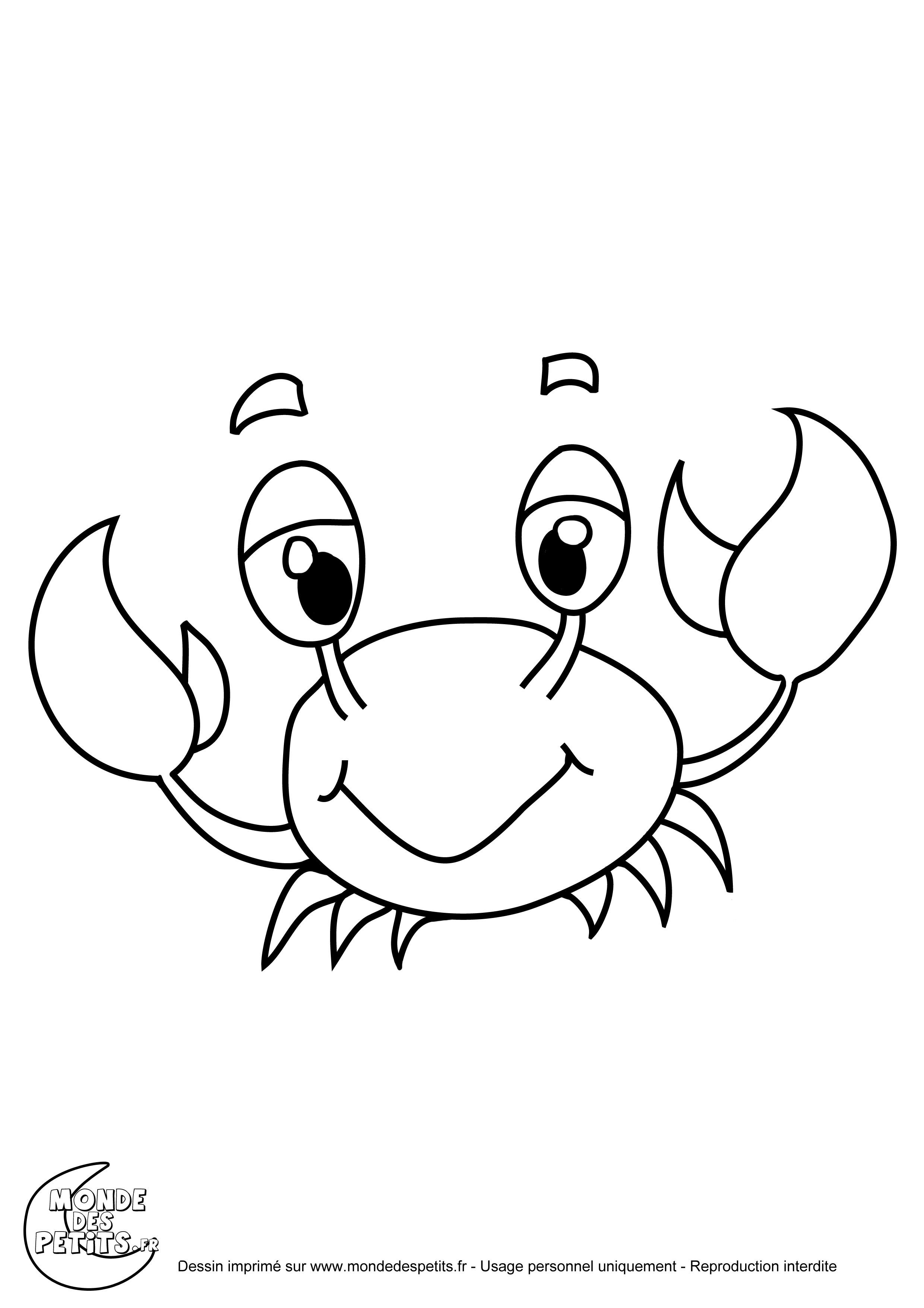 Coloriage couleur animaux aquatique - Dessiner un crabe ...