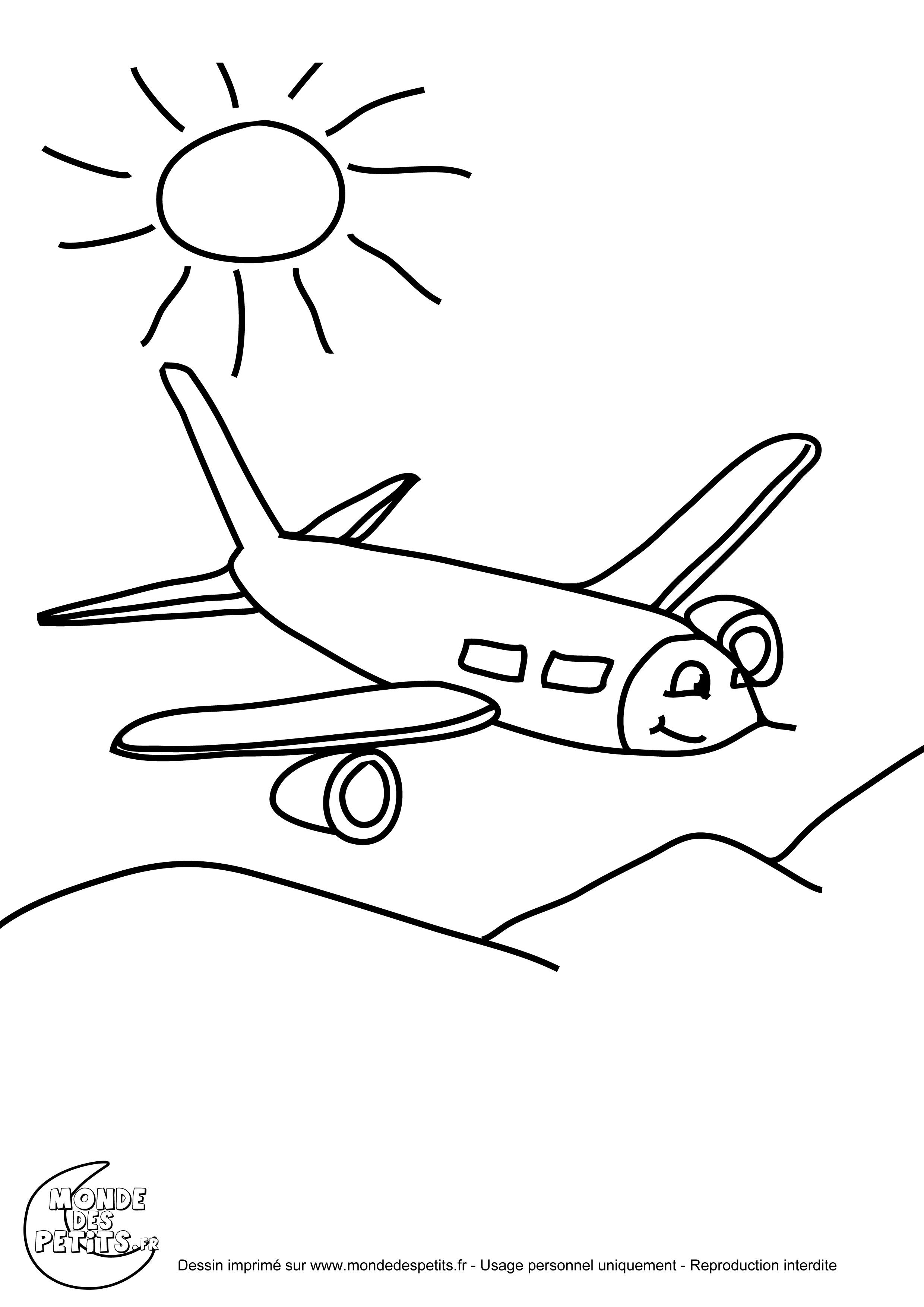 Coloriage Avion A Imprimer.Monde Des Petits Coloriages A Imprimer