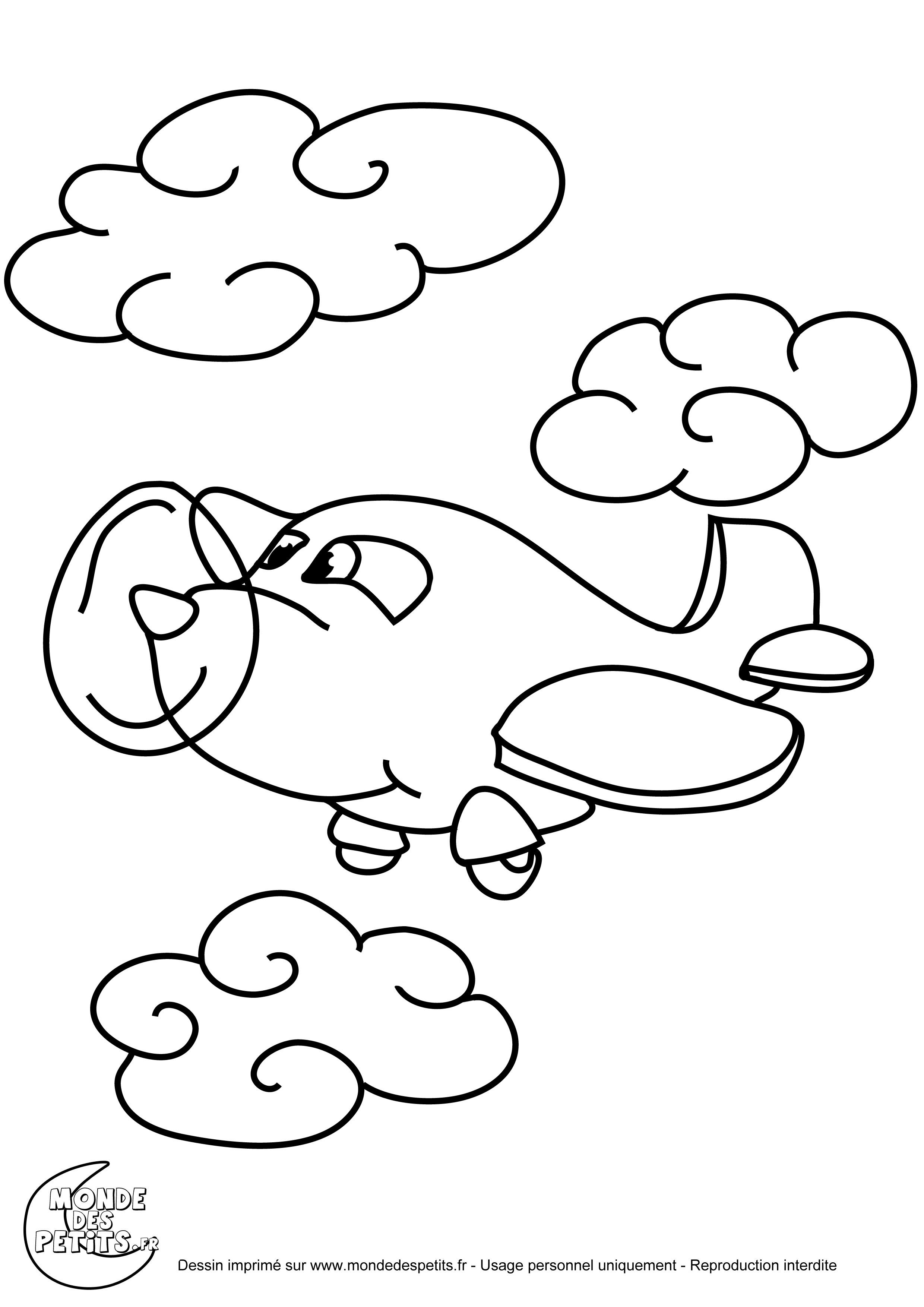 Coloriage couleur avion enfants - Avion coloriage ...