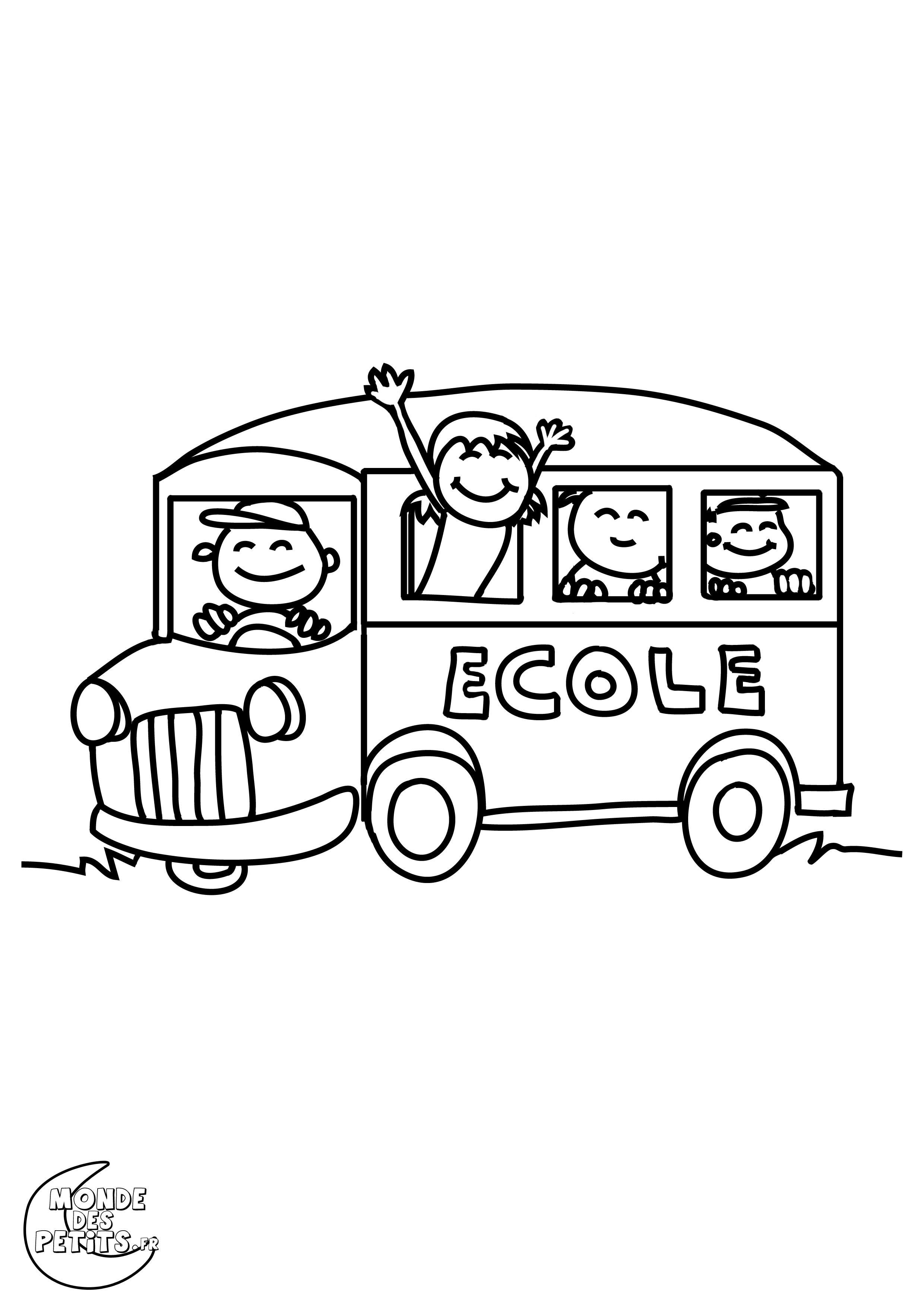Monde des petits coloriages imprimer - Autobus scolaire dessin ...