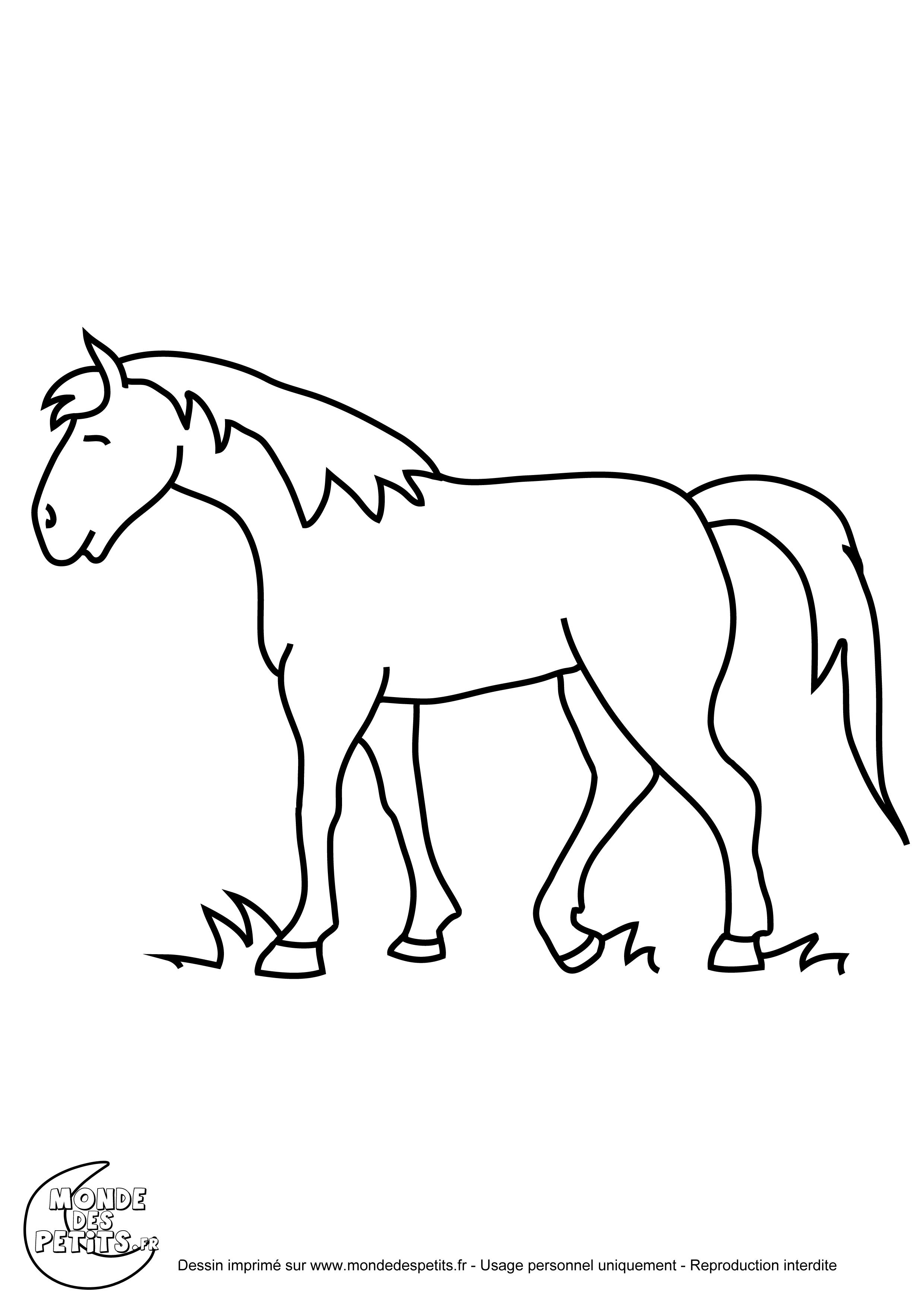 Monde des petits coloriages imprimer - Cheval facile a dessiner ...