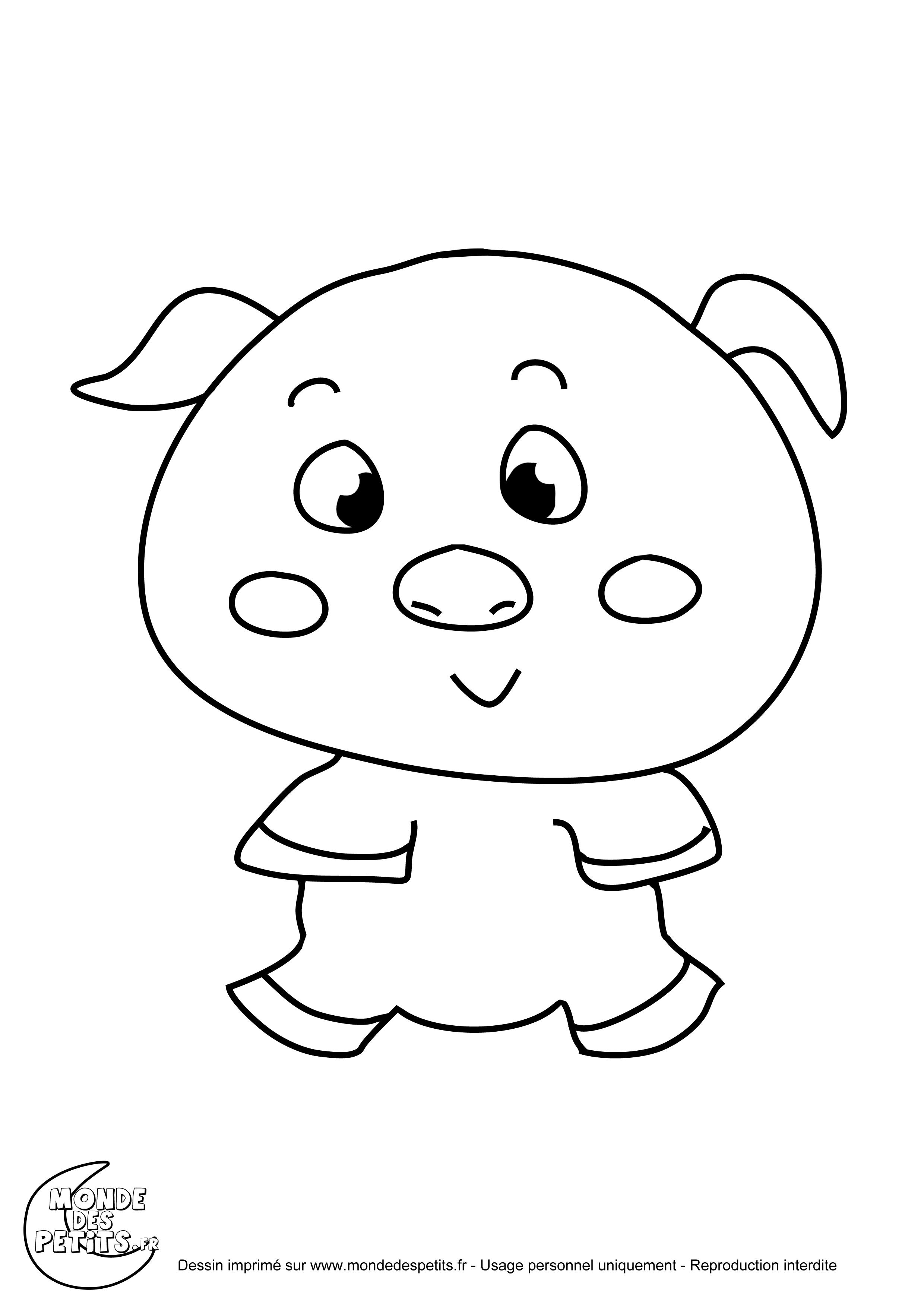 Monde des petits coloriages imprimer - Dessin cochon ...