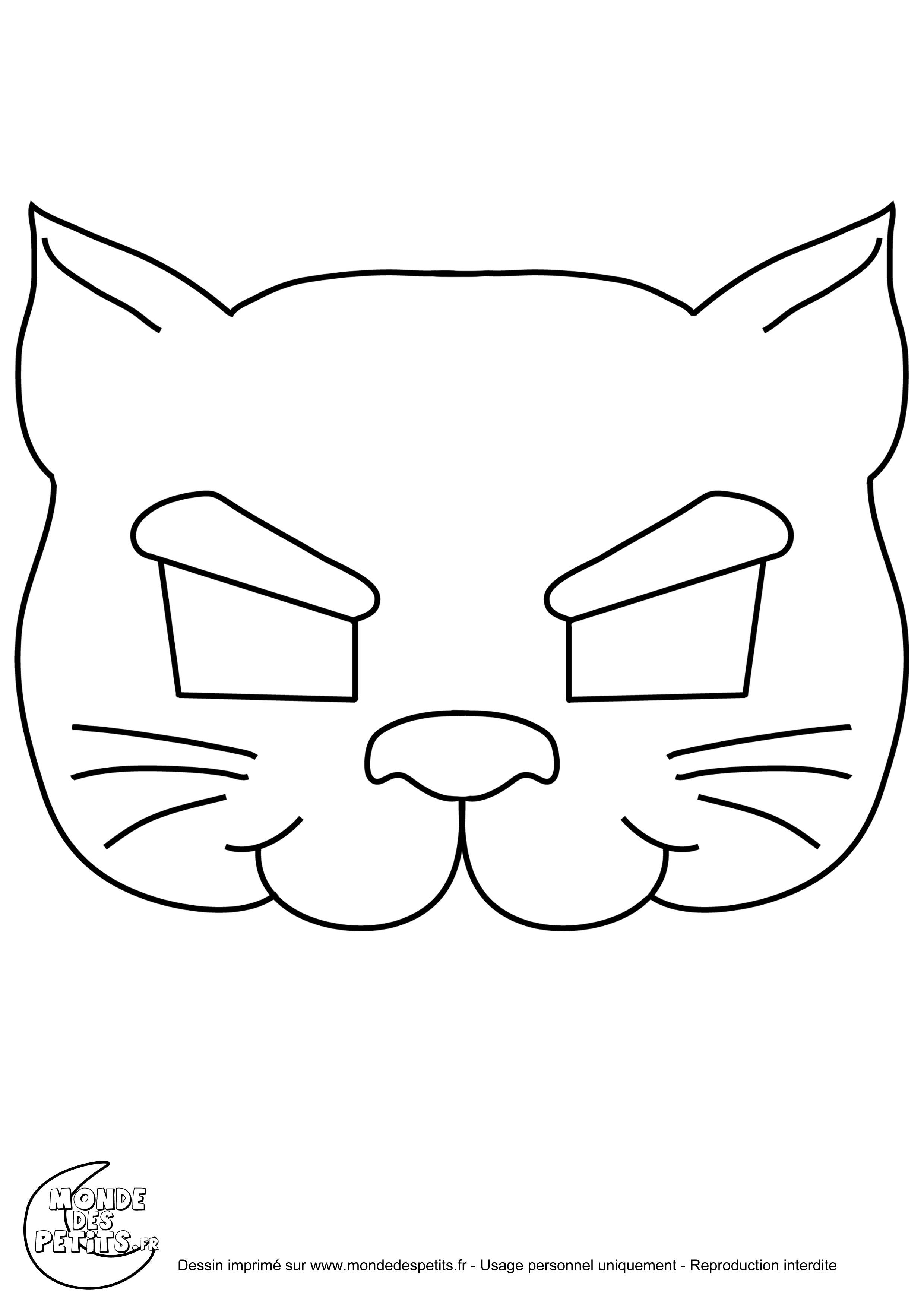 Monde des petits coloriages imprimer - Chat coloriage masque ...