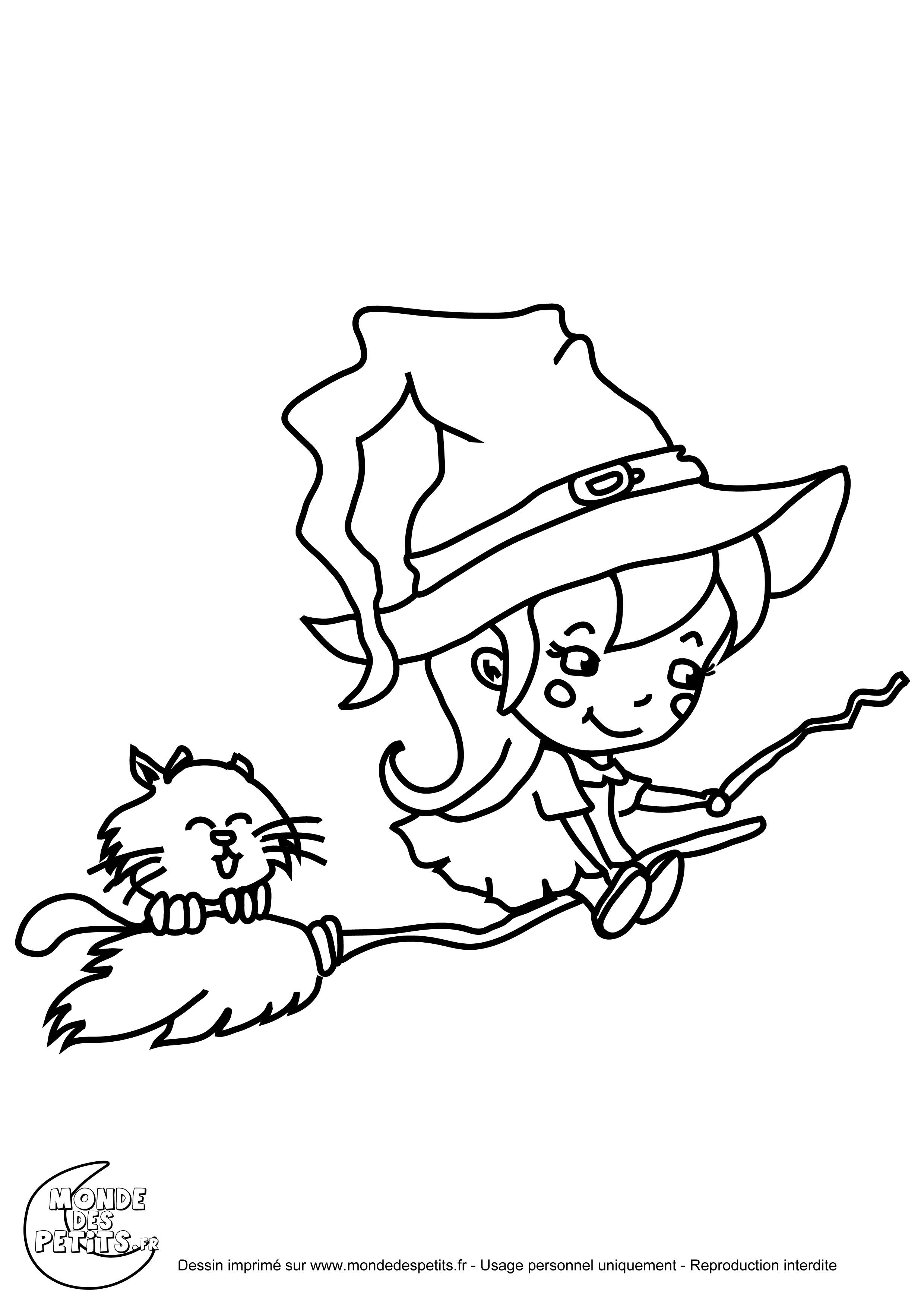 Monde des petits coloriages imprimer - Le jeux de la sorciere qui fait peur ...