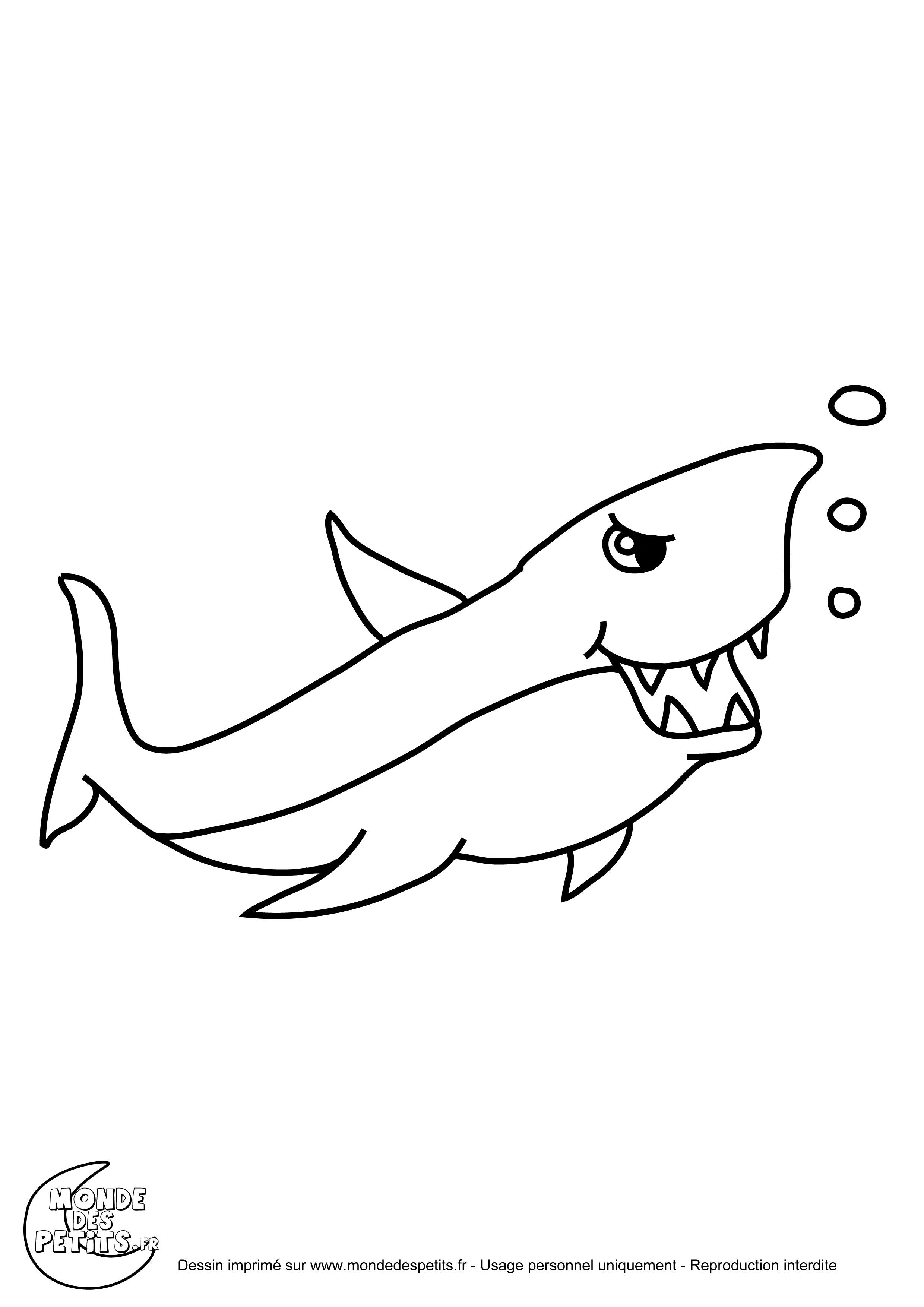 Monde des petits coloriages imprimer - Dessiner un requin blanc ...