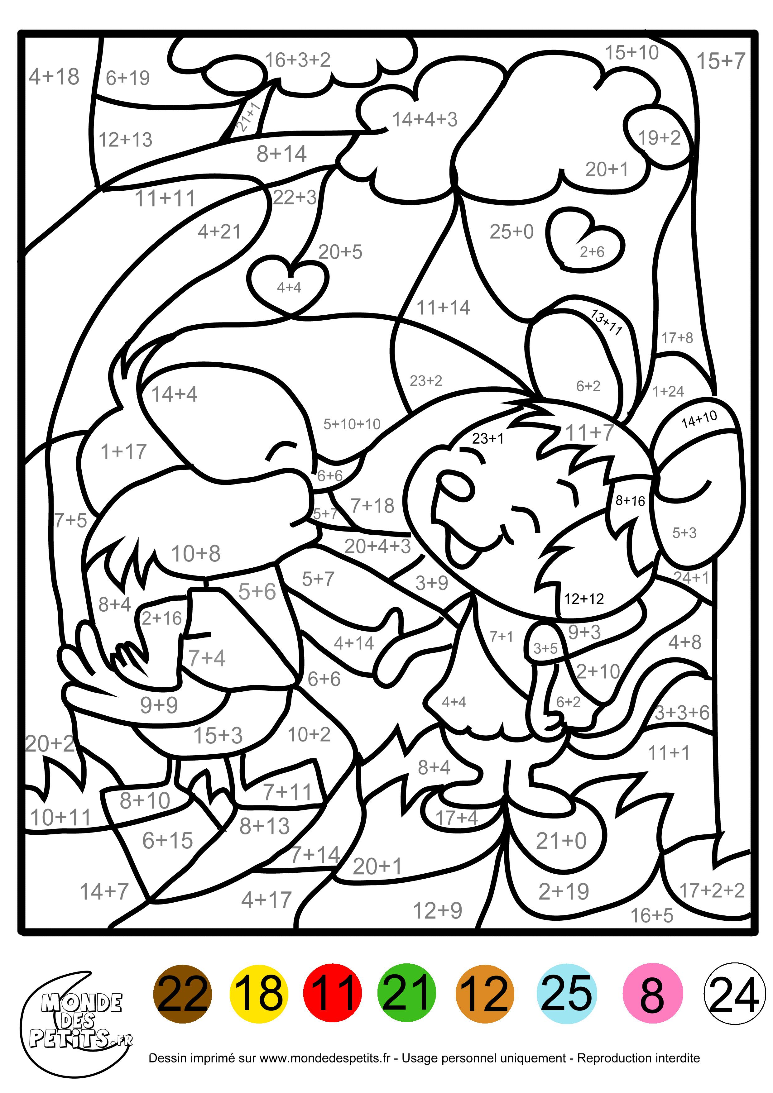 Coloriage Magique Calcul Cp.Monde Des Petits Coloriages A Imprimer