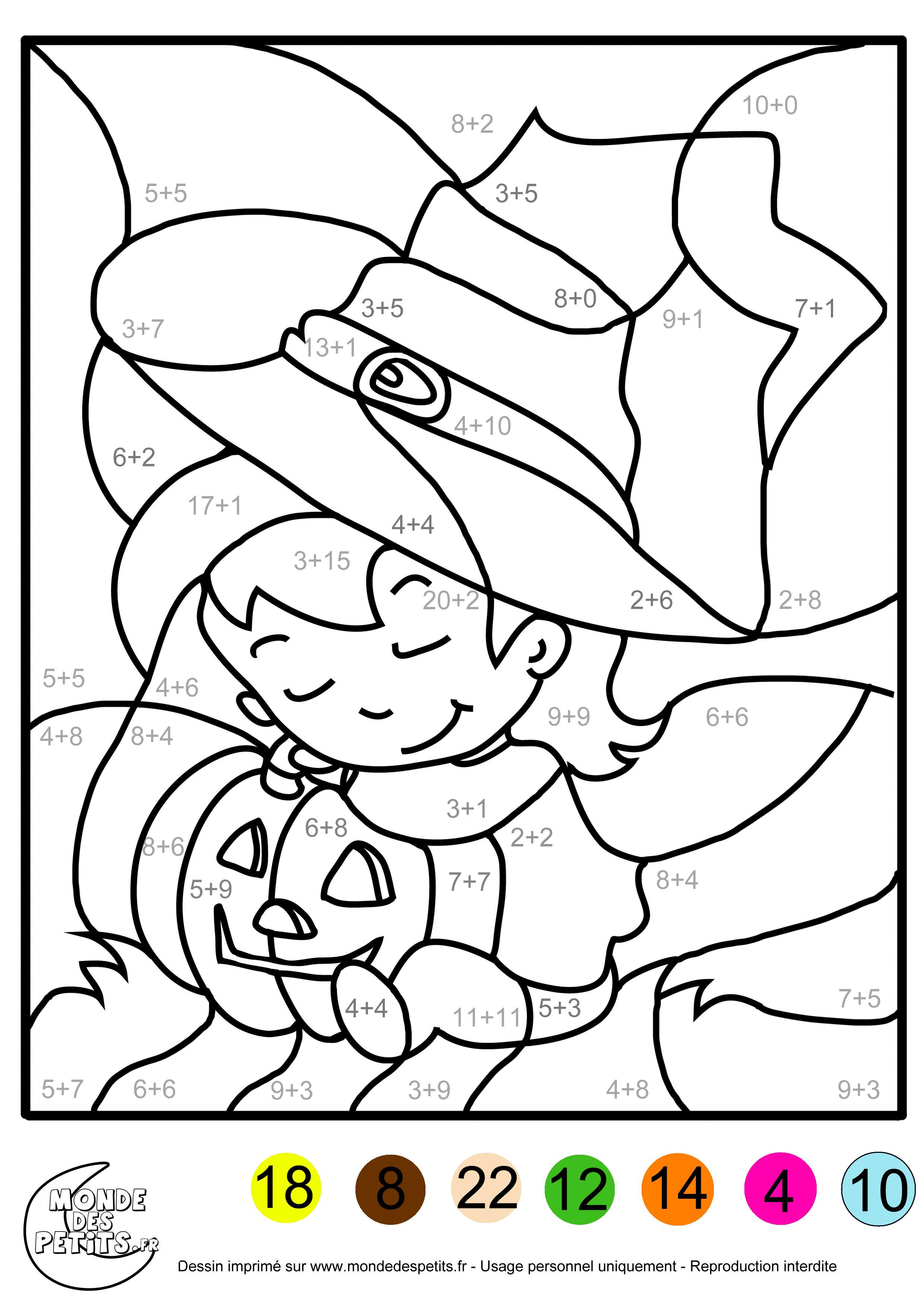 Coloriage magique addition pour les enfants de CP