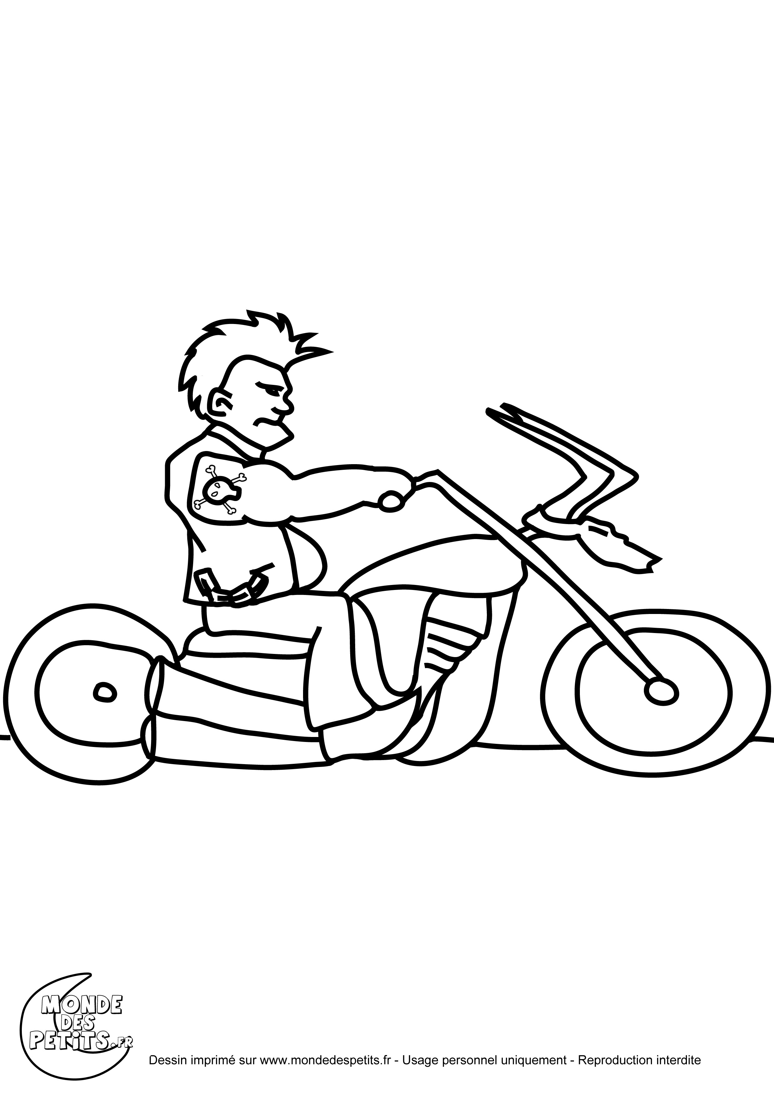 Monde des petits coloriages imprimer - Dessin de motard ...