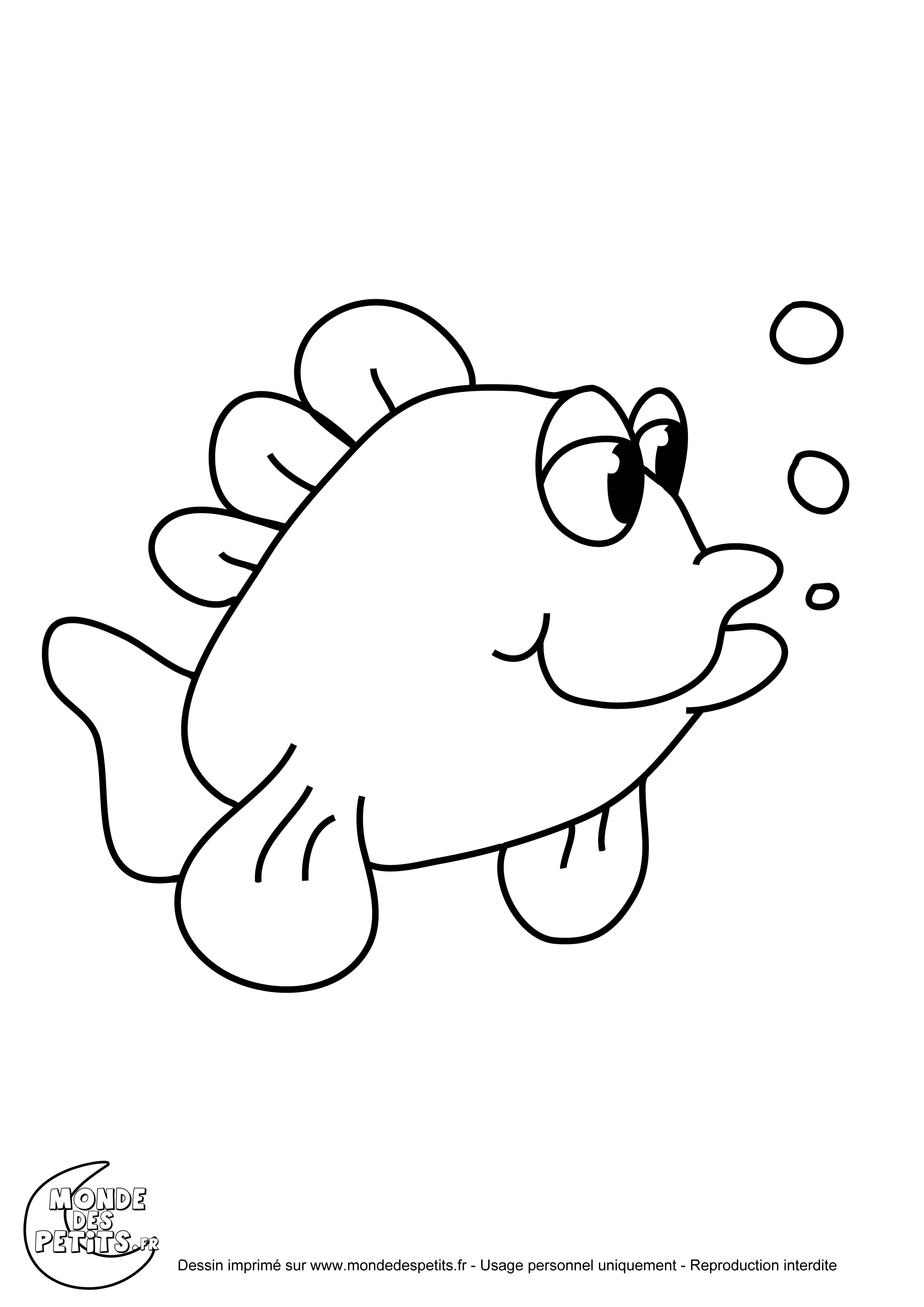Coloriage de poissons dans la mer