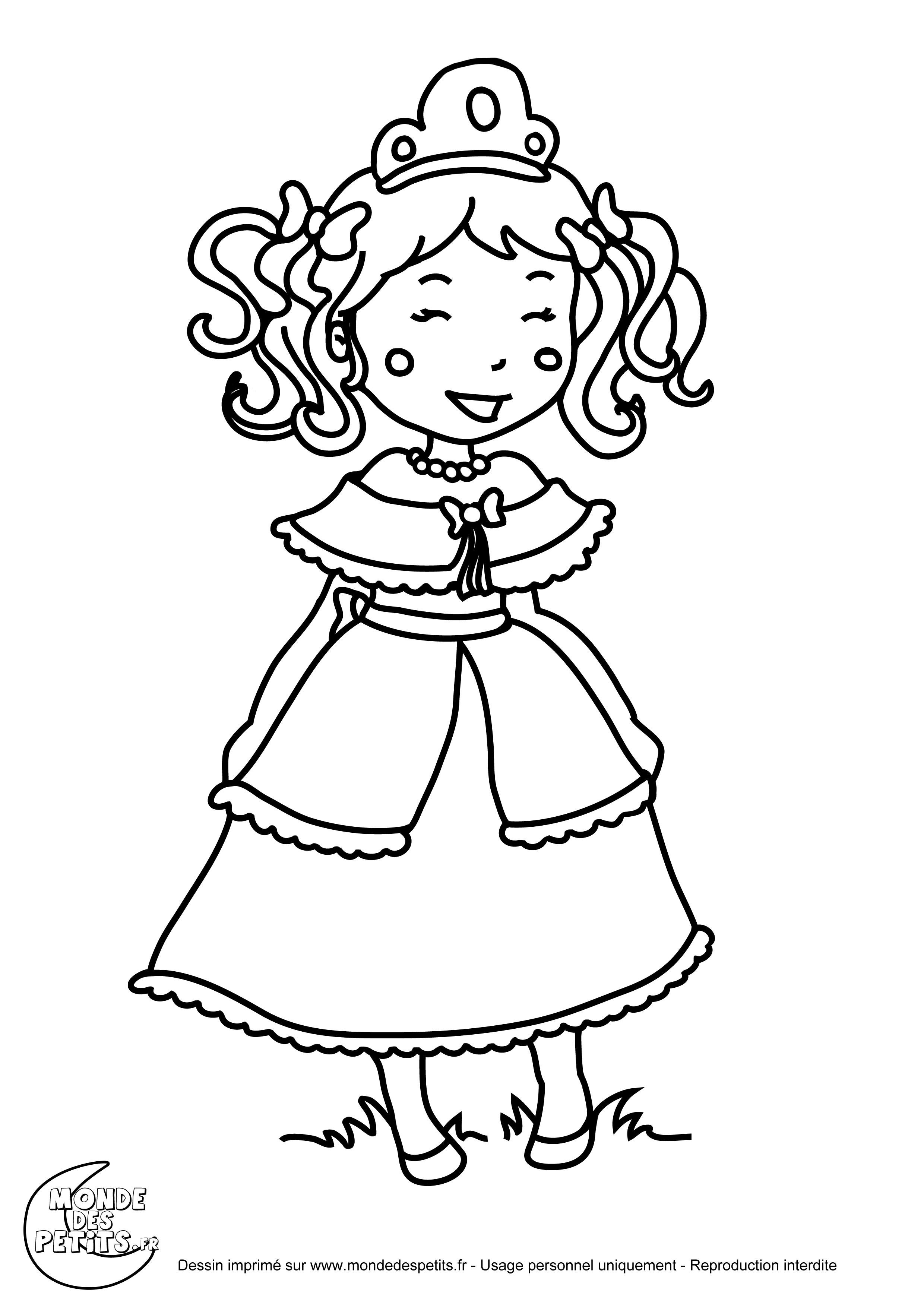 Coloriage Robe De Princesse A Imprimer.Monde Des Petits Coloriages A Imprimer