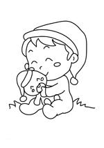 Coloriage le bébé de noel et son nounours