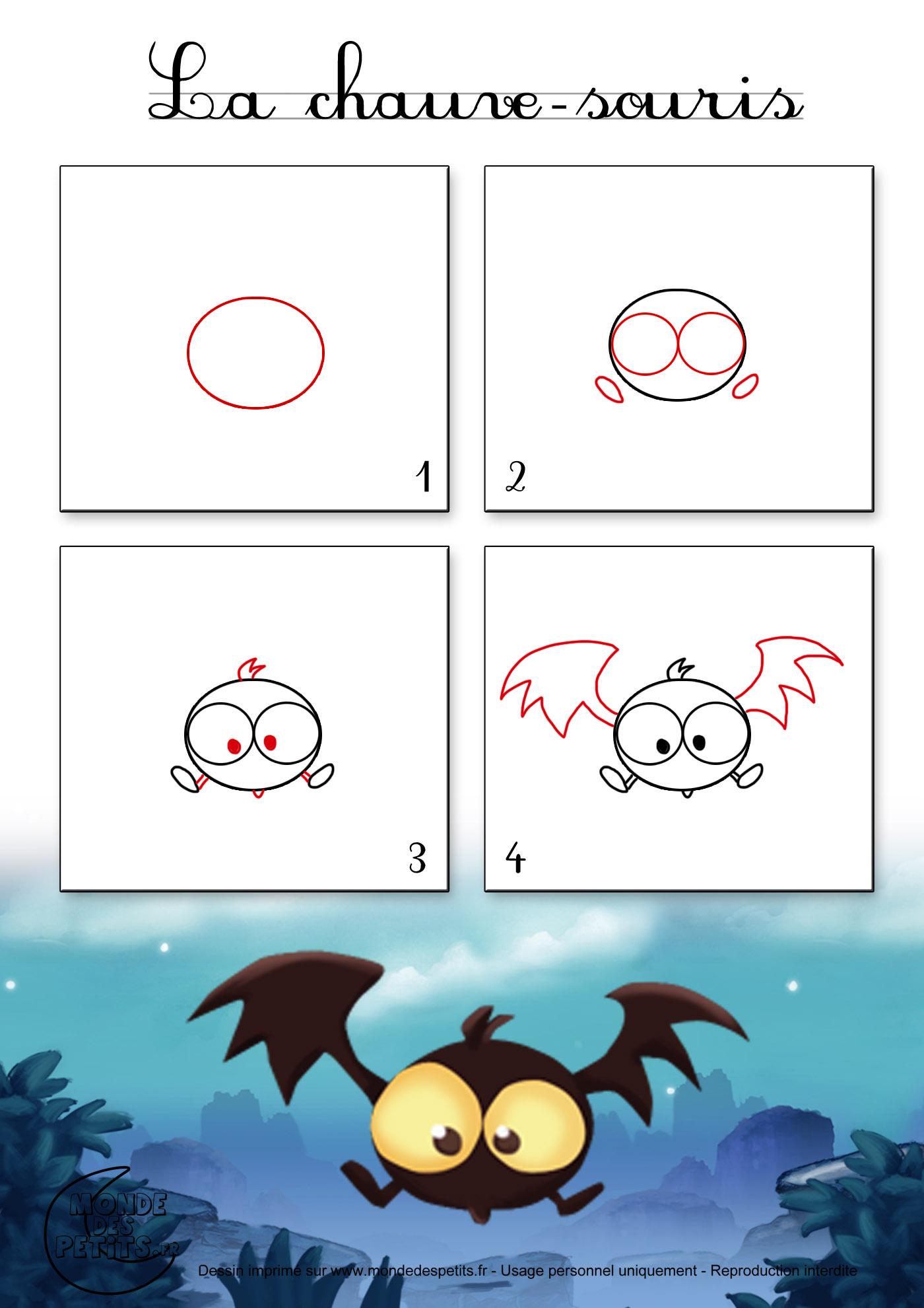 Chauve souris dessins tutorial pinterest - Dessin d halloween facile ...