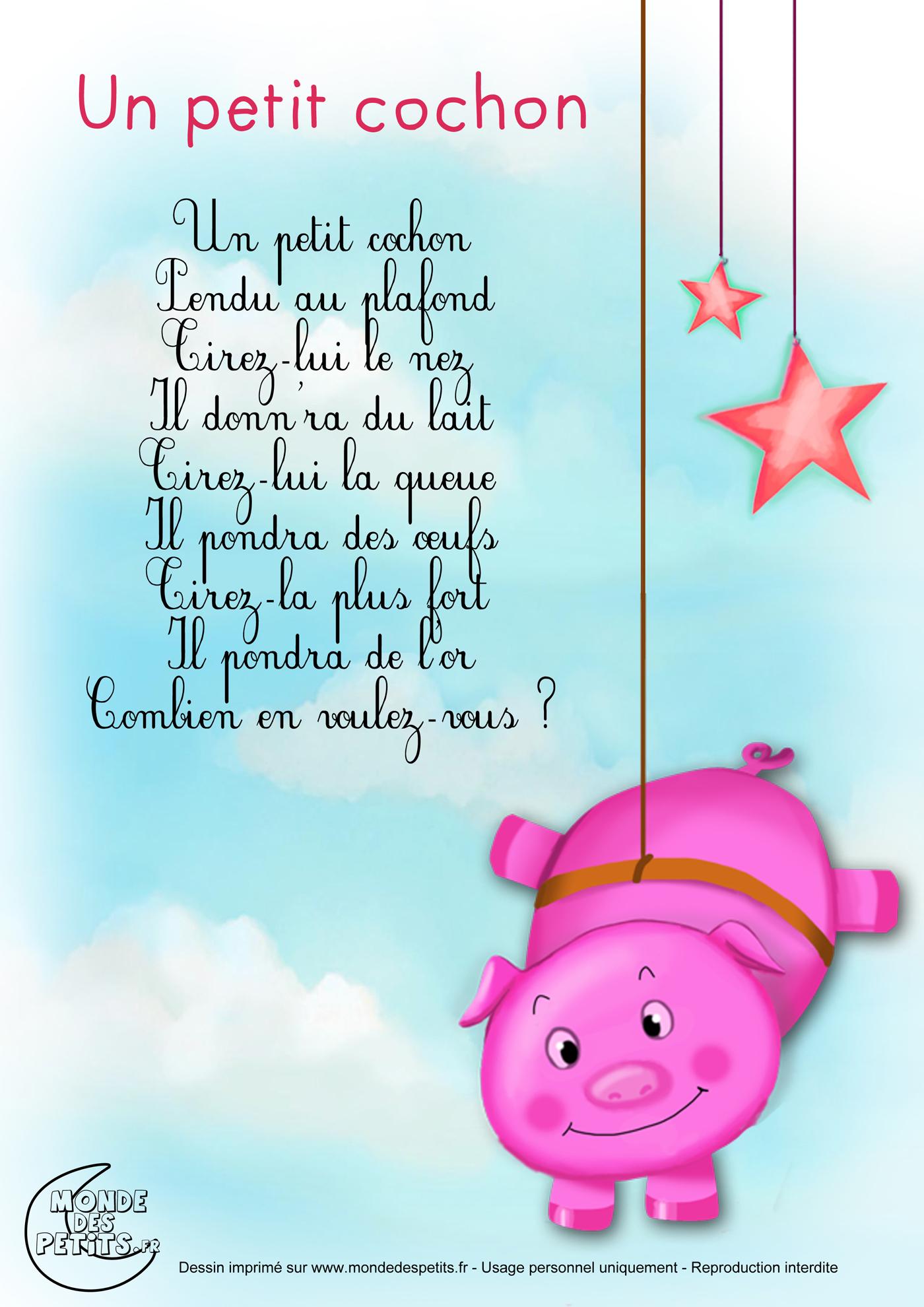 monde des petits un petit cochon pendu au plafond