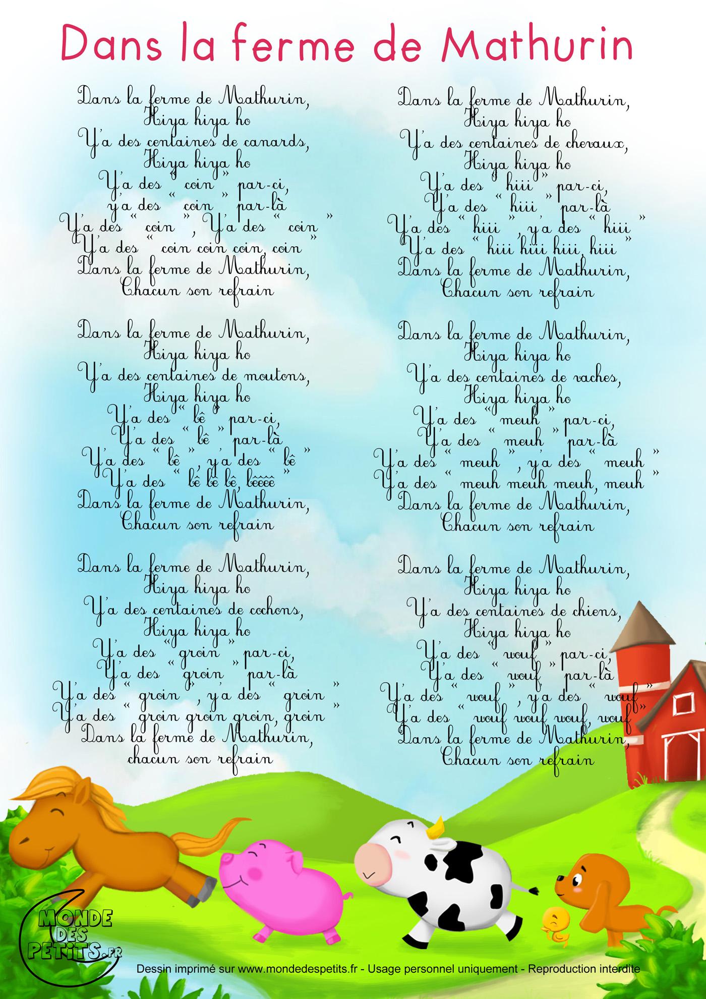 Dans la ferme de mathurin a imprimer pinterest for Dans banga paroles