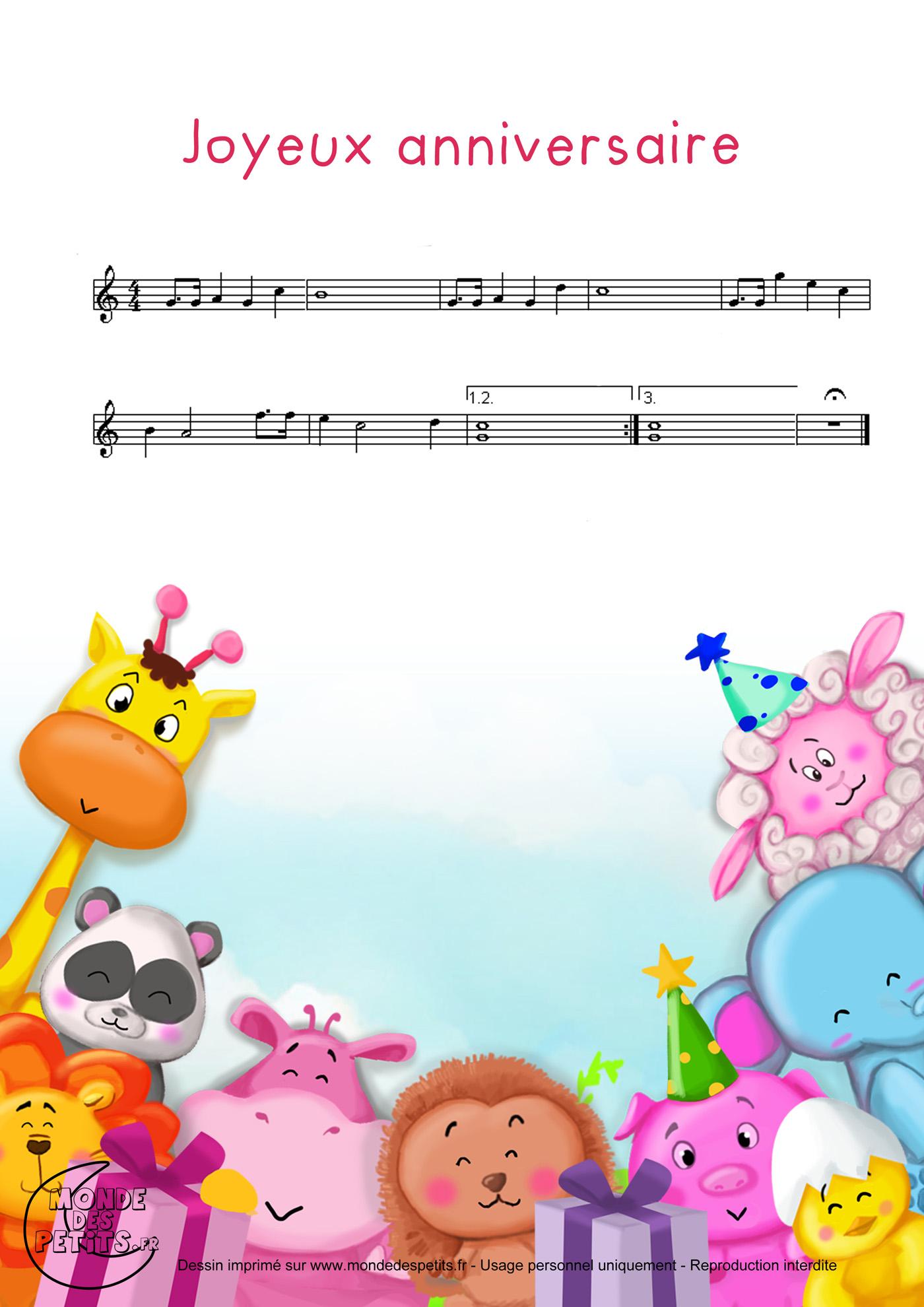joyeux anniversaire chanson paroles