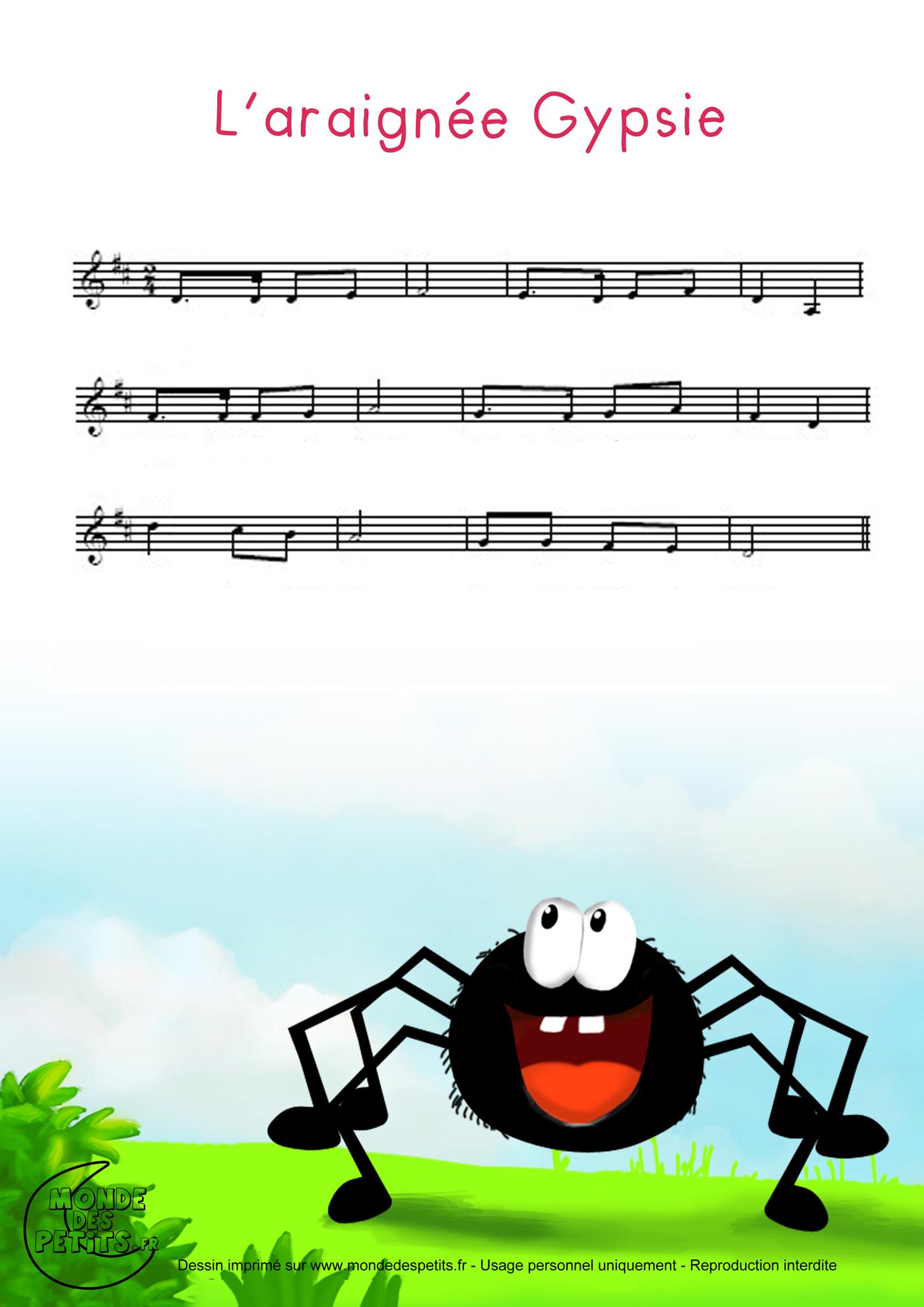 Comptine, chanson, araignée, enfant, gypsie, gipsy, partition