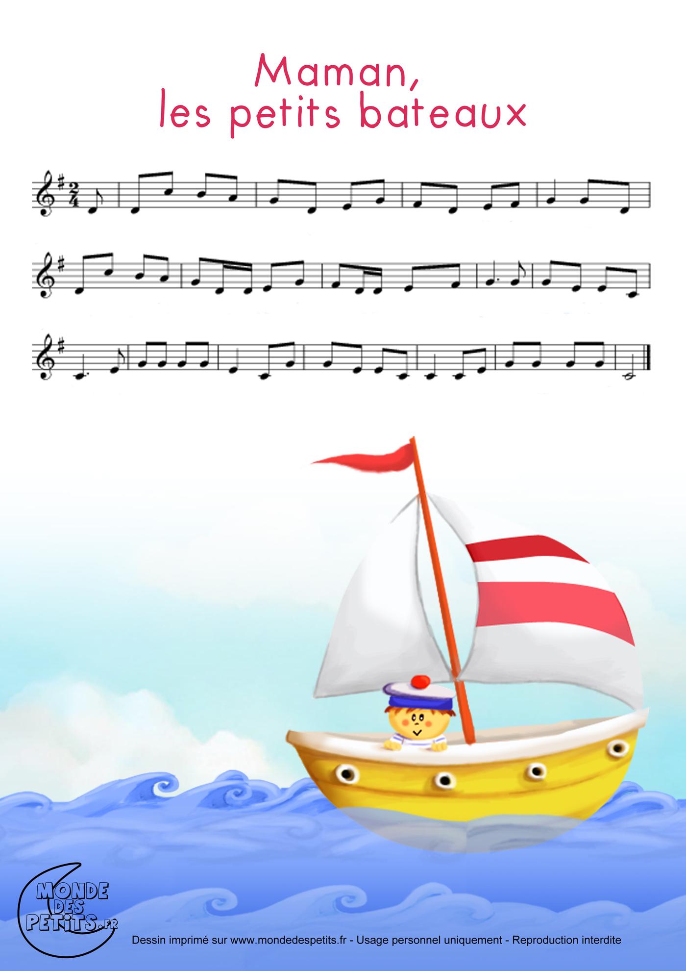 comptine, chanson, enfant, parole, maman, petits, bateaux, partition