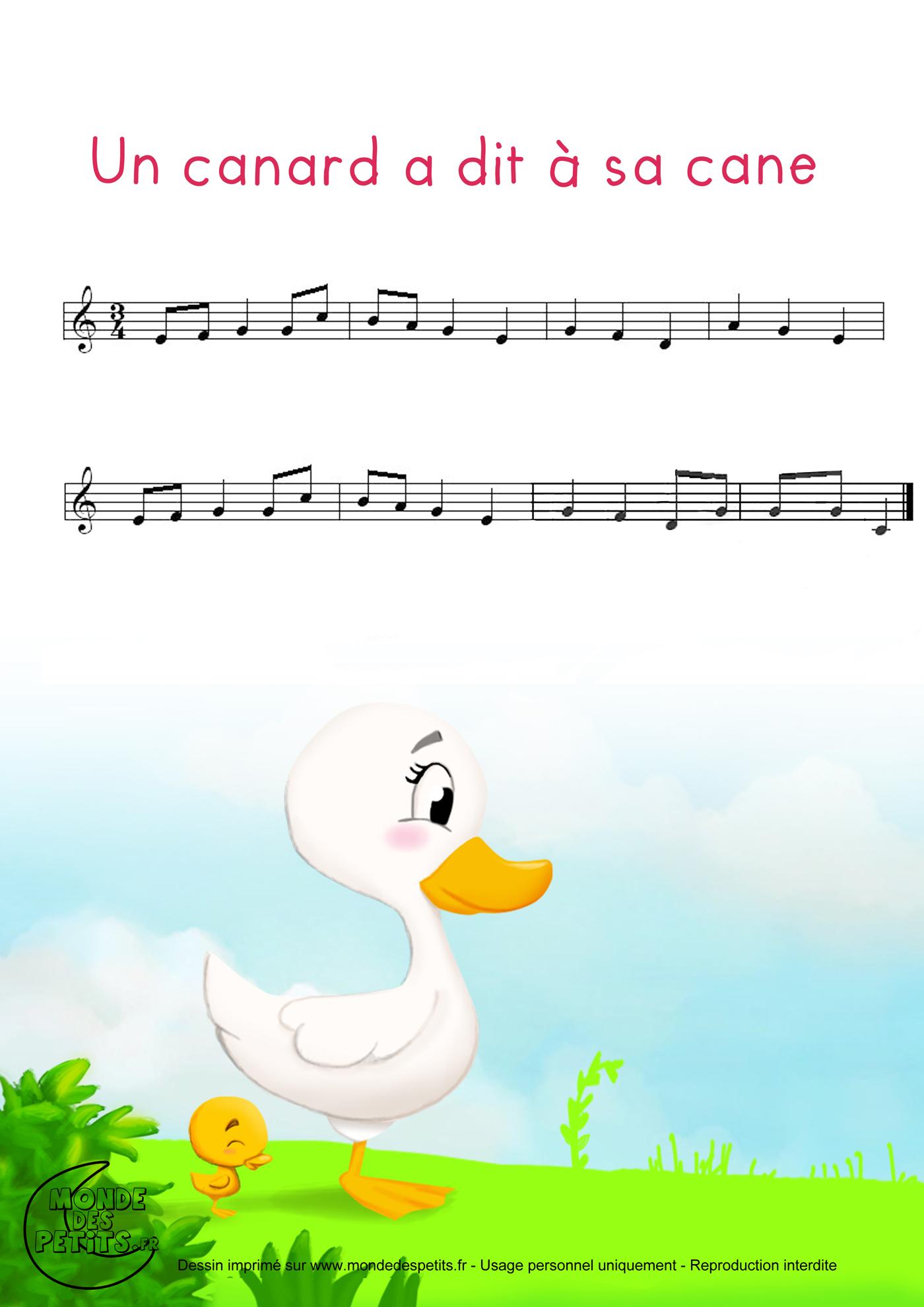 comptine, chanson, enfant, canard, cane, dit, paroles, imprimer, vidéo, partition,