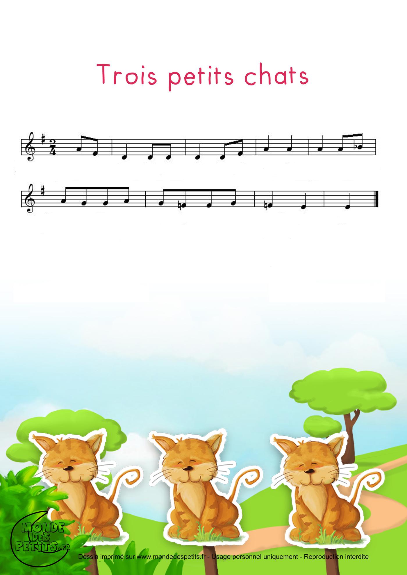comptine, enfant, chanson, trois, petits, chats, chapeau, paille, partition,