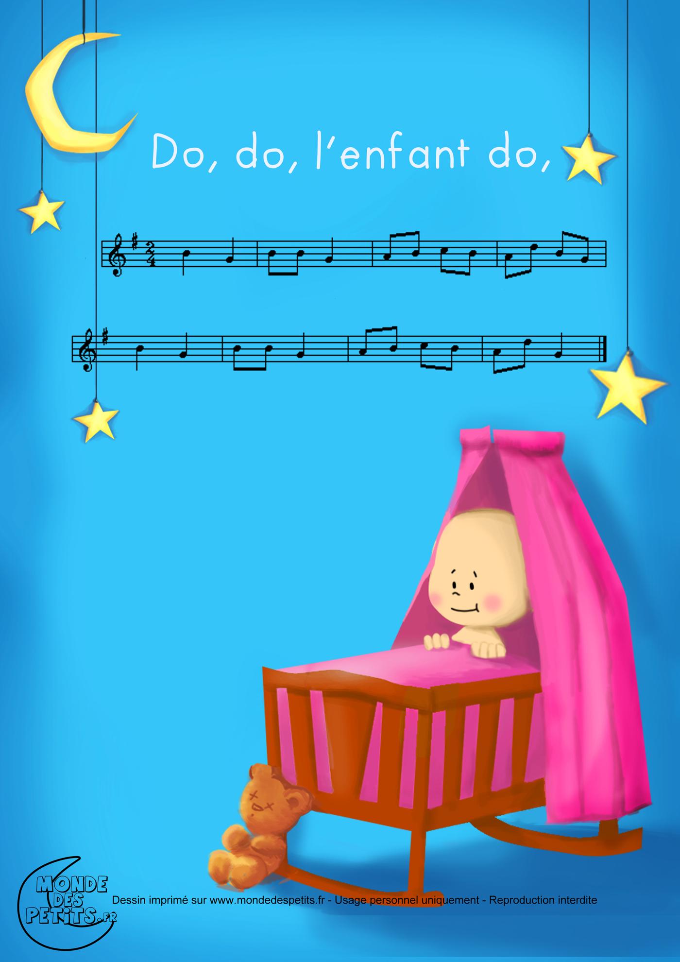 comptine, chanson, enfant, parole, do, dodo, berceuse, bebe, partition