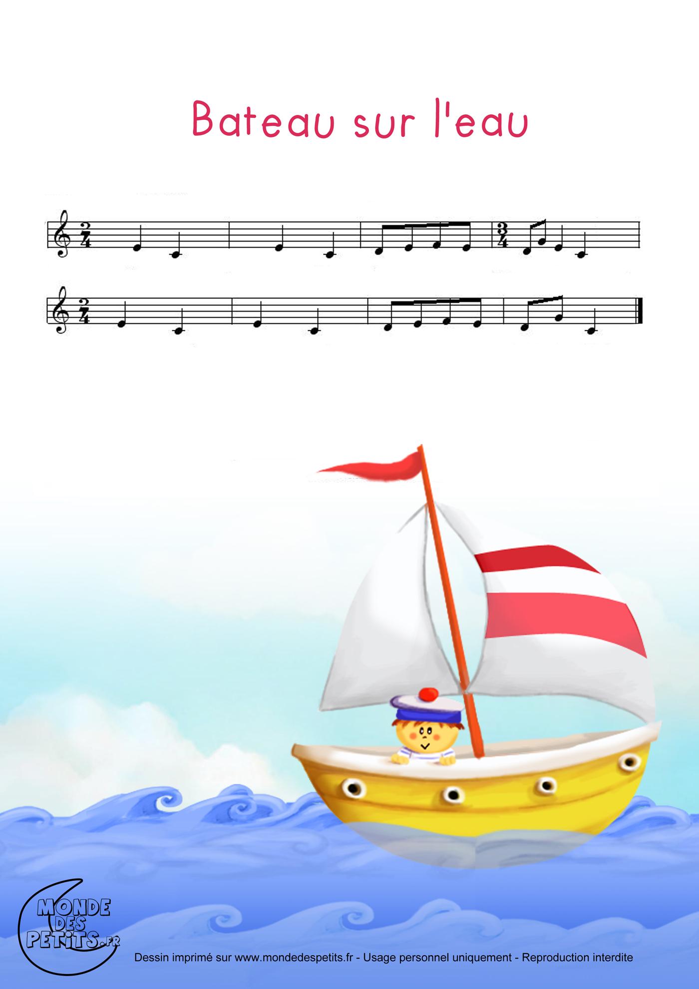 bateau sur l'eau paroles