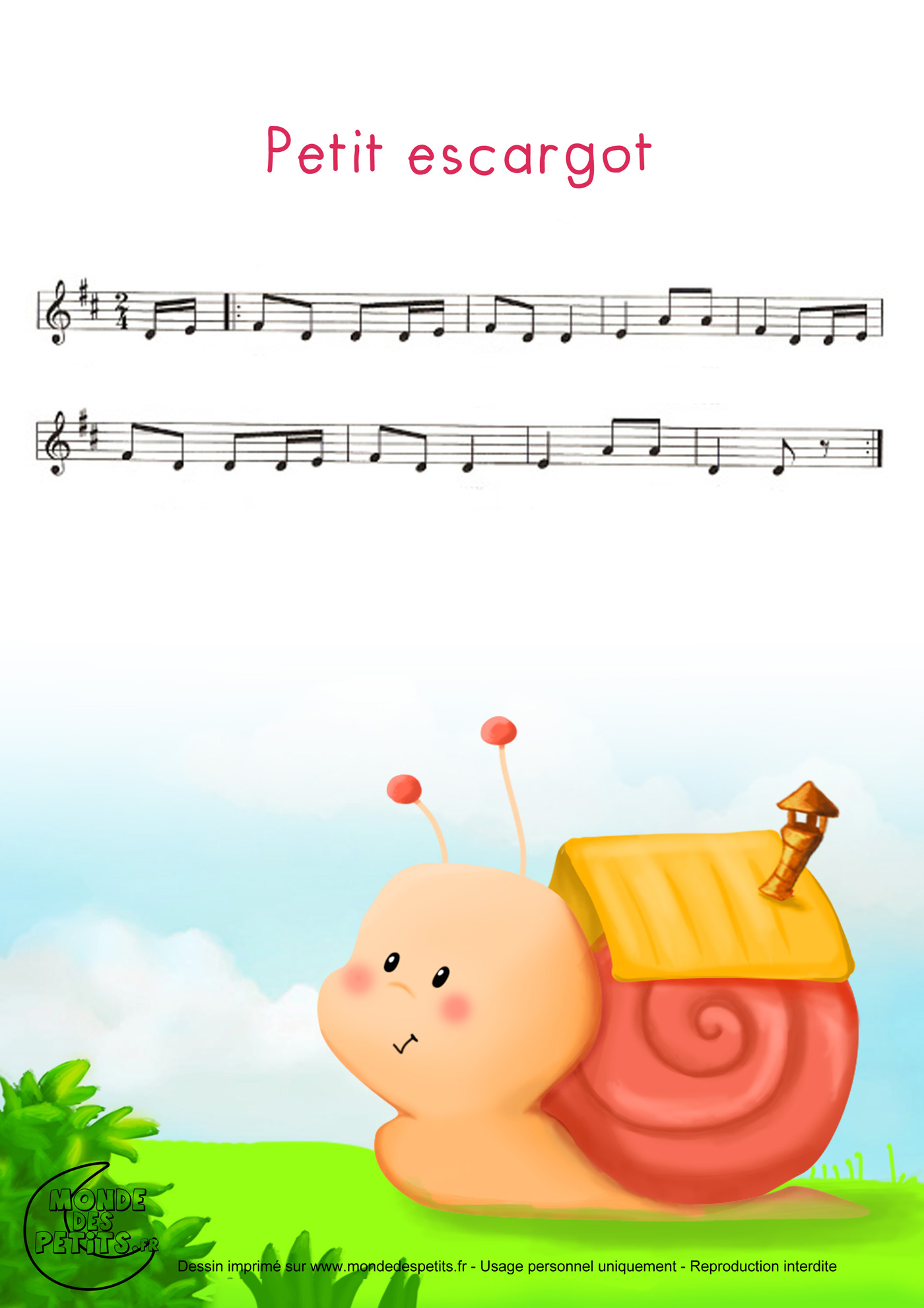 comptine, chanson, enfant, parole, petit, escargot, maisonnette, partition