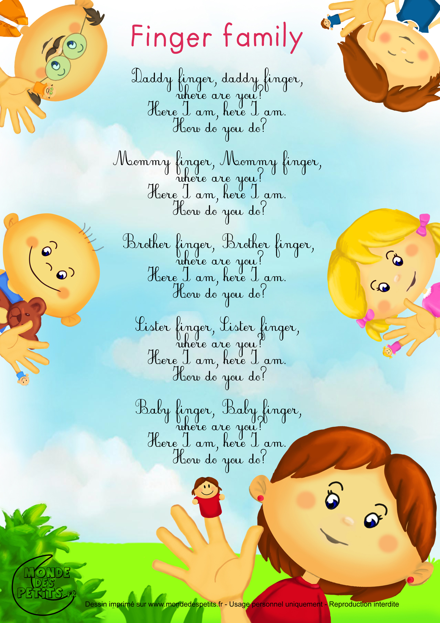 Comptine, anglais, enfant, apprendre, chanson, finger, family