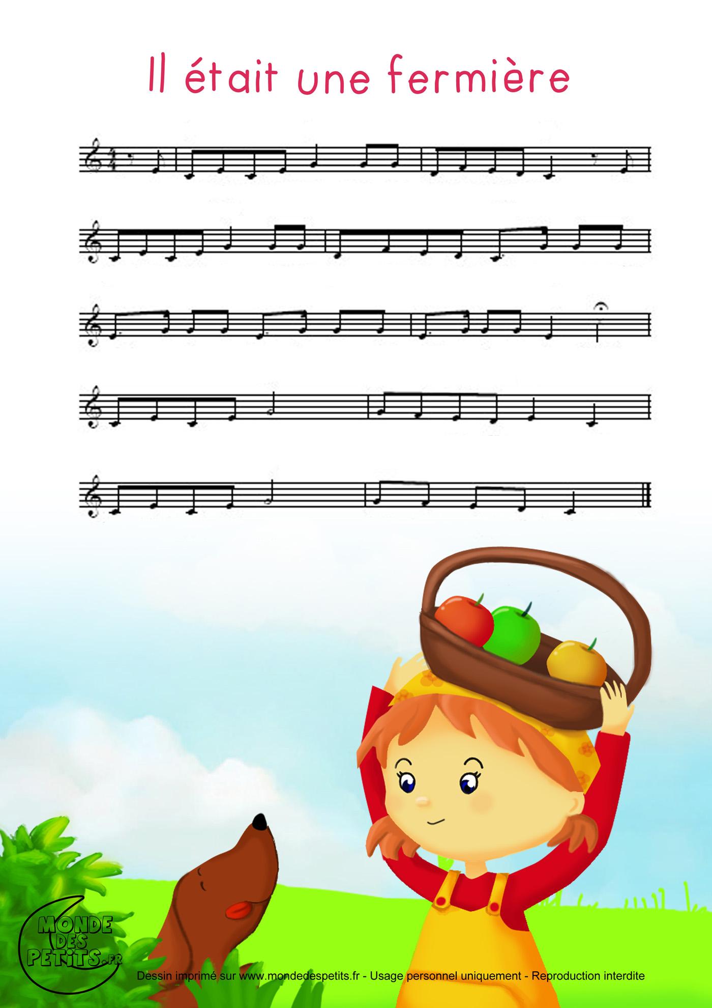 chanson, parole, partition, enfant, fermiere, etait, rouli, roula