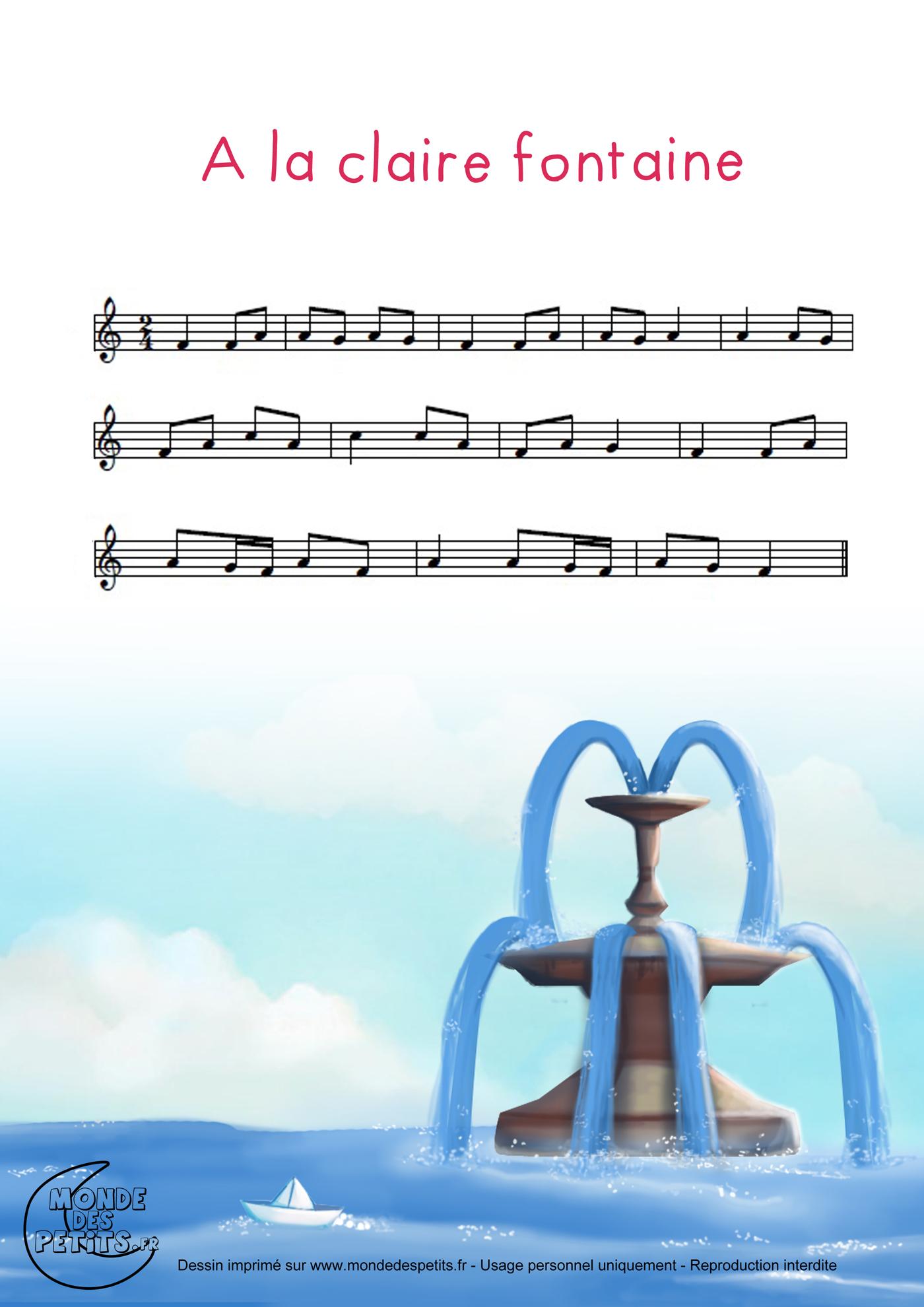 parole chanson a la claire fontaine