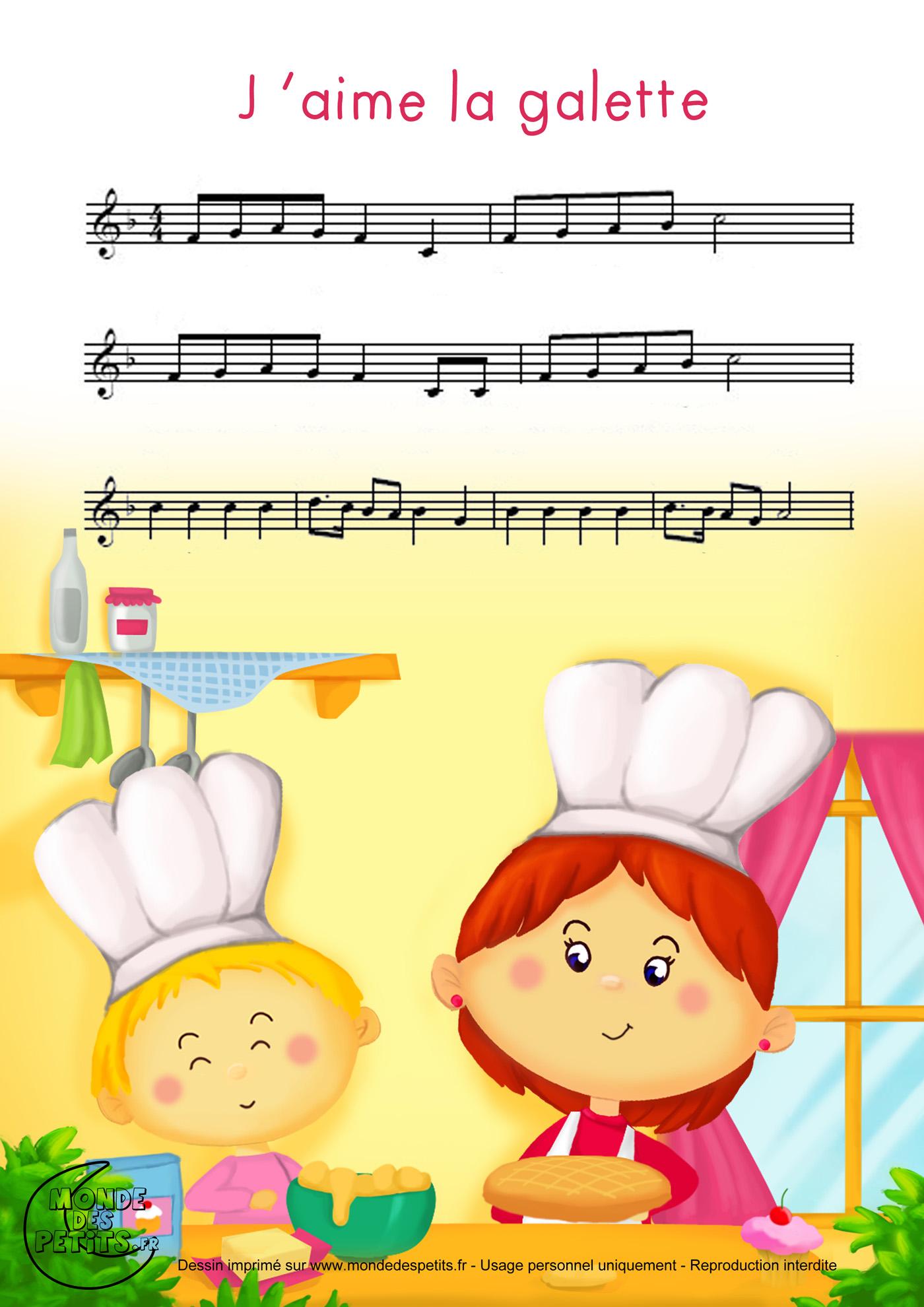 comptine, chanson, enfant, paroles, partition, imprimer, galette, aime, beurre,