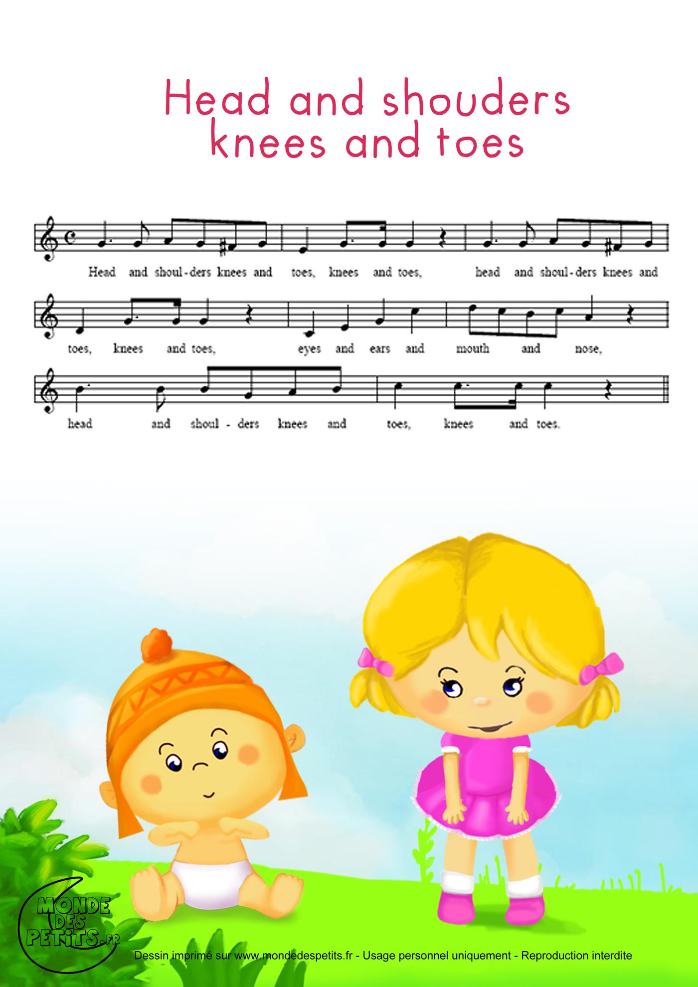 comptine, enfant, anglaise, head, shouders, apprendre, chanson,