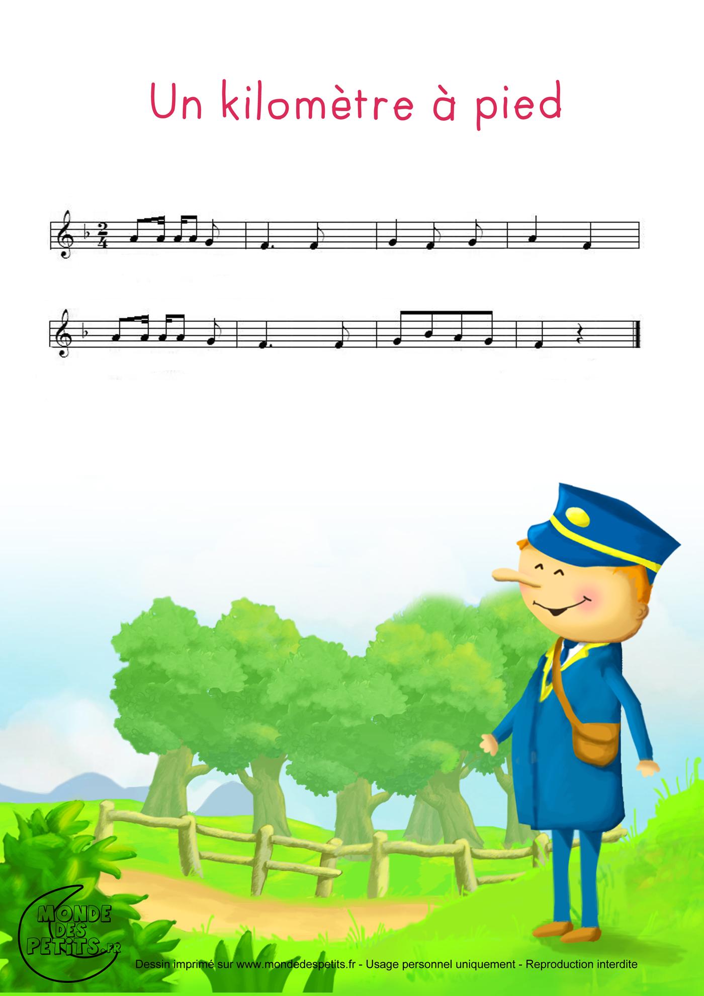 enfant, apprendre, comptine, chiffres, pied, soulier, kilometre, vidéo, chanson, partition,