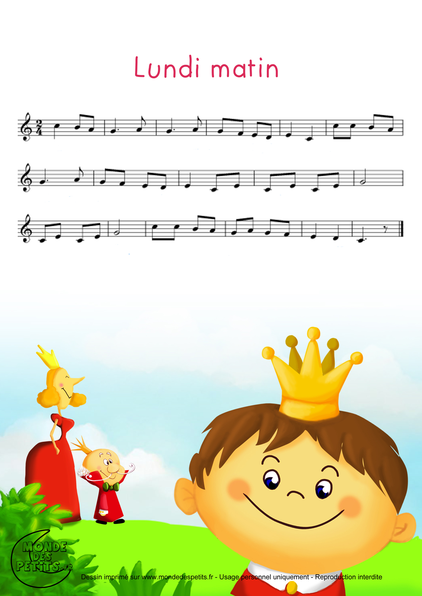 lundi, matin, comptine, chanson, enfant, empereur, prince, femme,