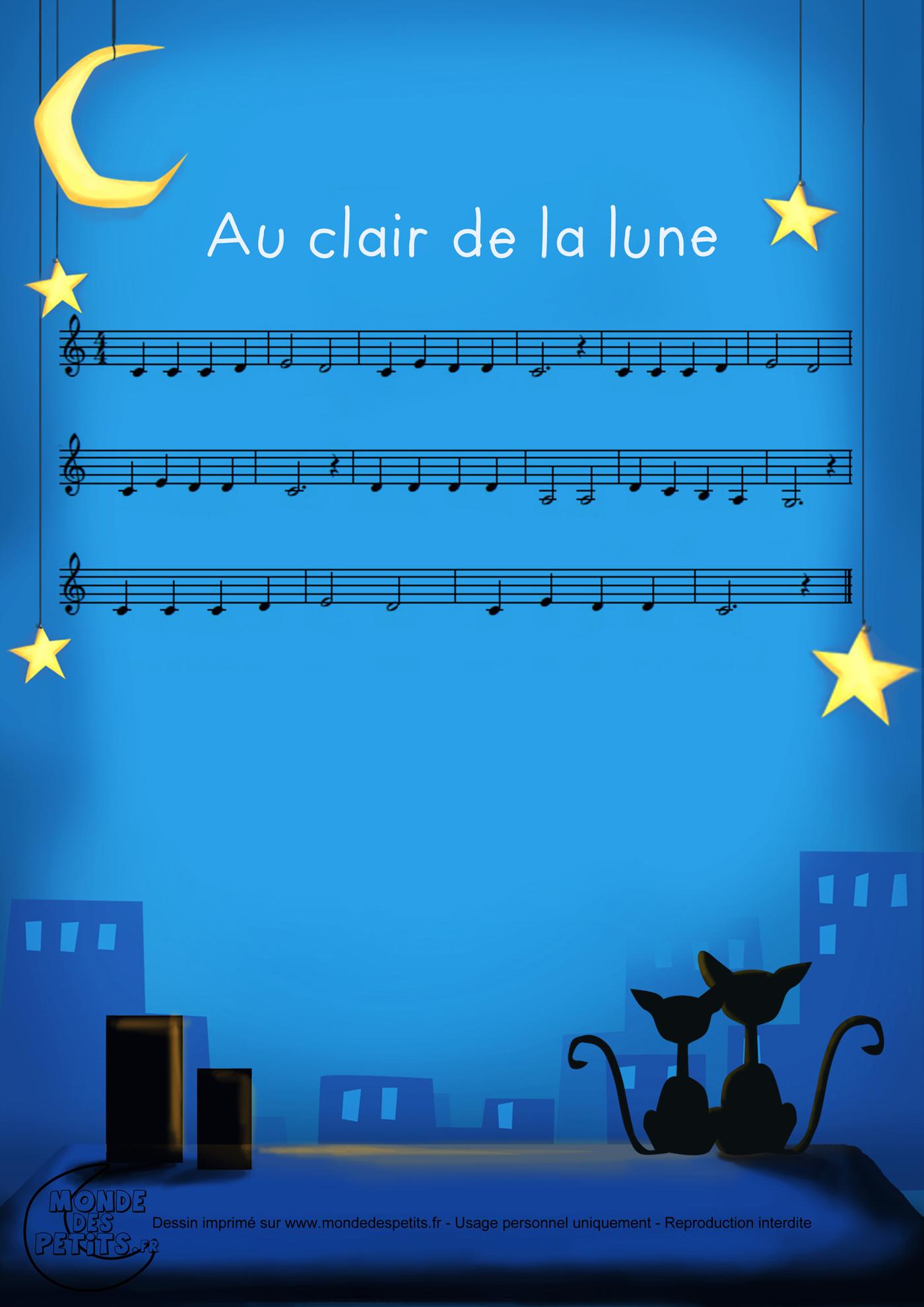 clair, lune, enfant, paroles, chanson, pierrot, vidéo, comptine, partition