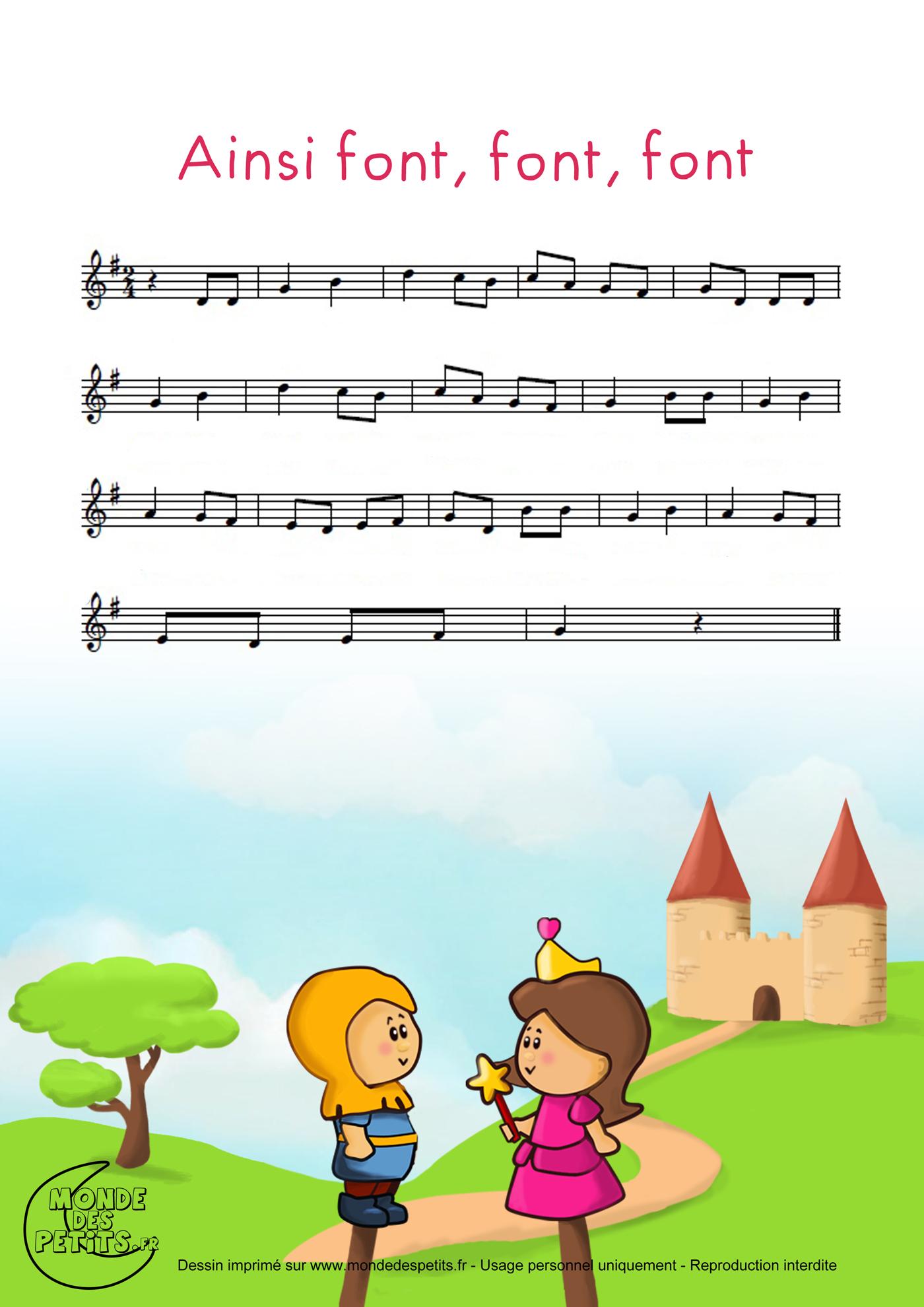 comptine, chanson, enfant, parole, petite, marionnette, font, partition