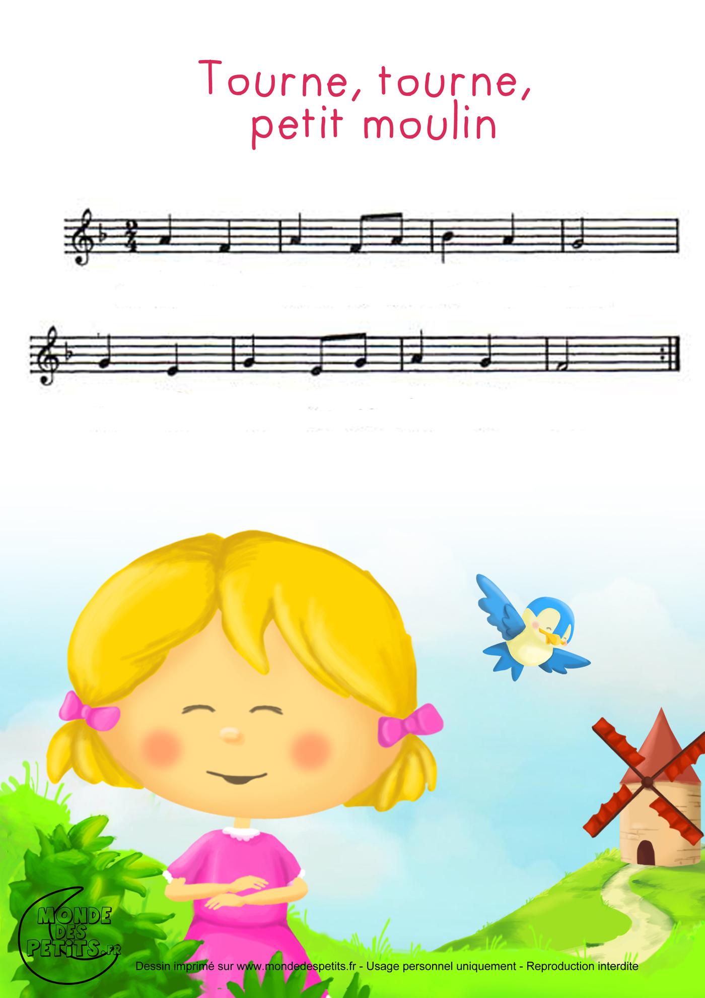 comptine, chanson, enfant, parole, tourne, petit, moulin, partition
