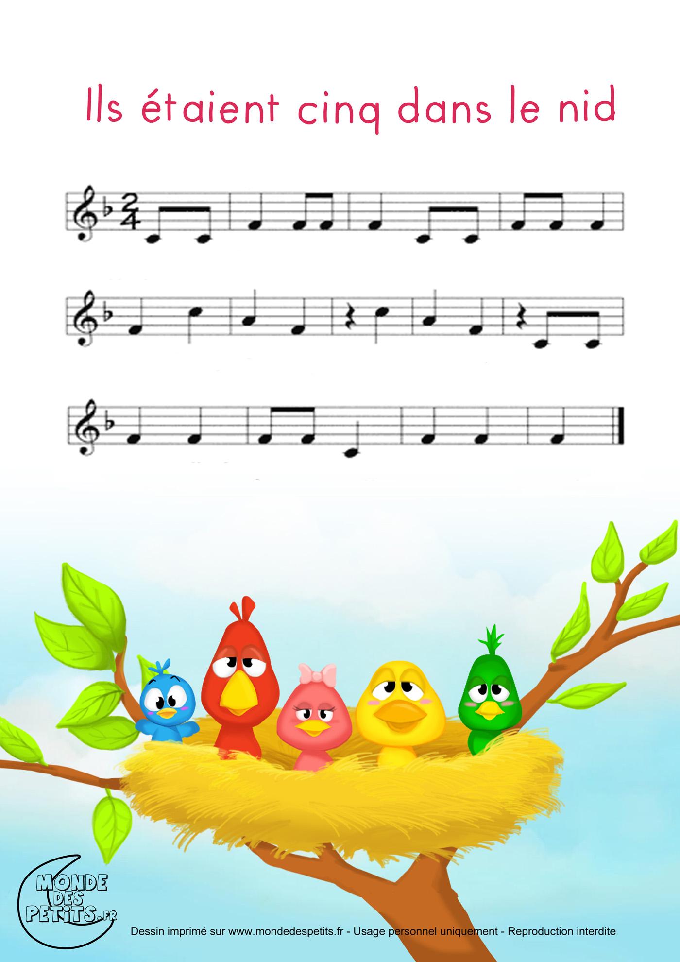 cinq, nid, enfant, comptine, chanson, partition, paroles, vidéo, animée, étaient,