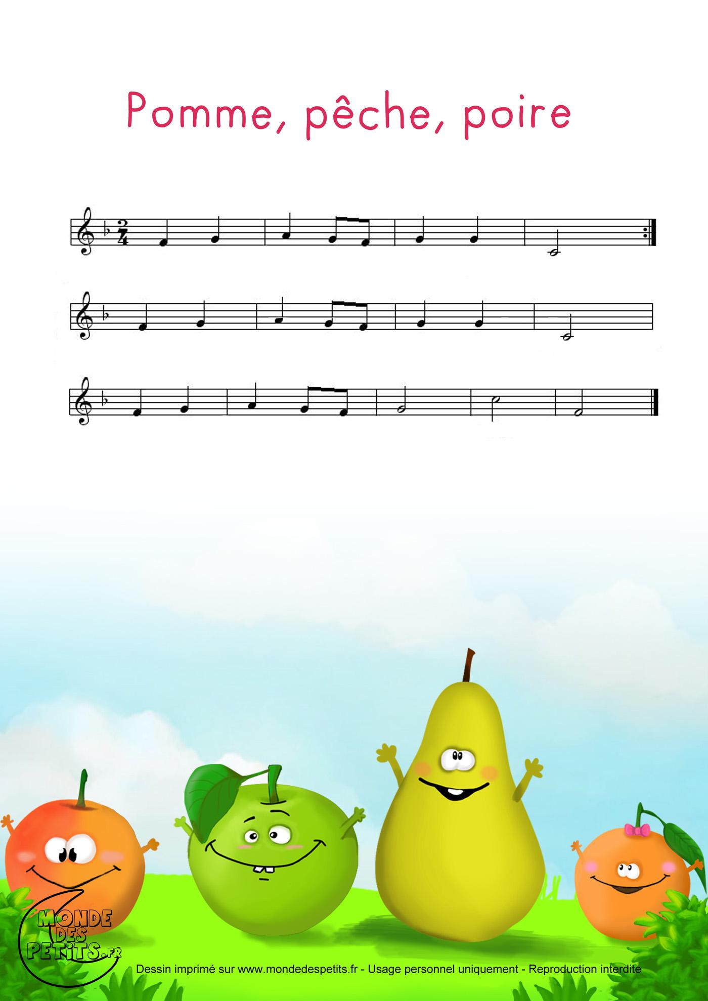 pomme, peche, poire, abricot, enfant, comptine, chanson, paroles, partition,
